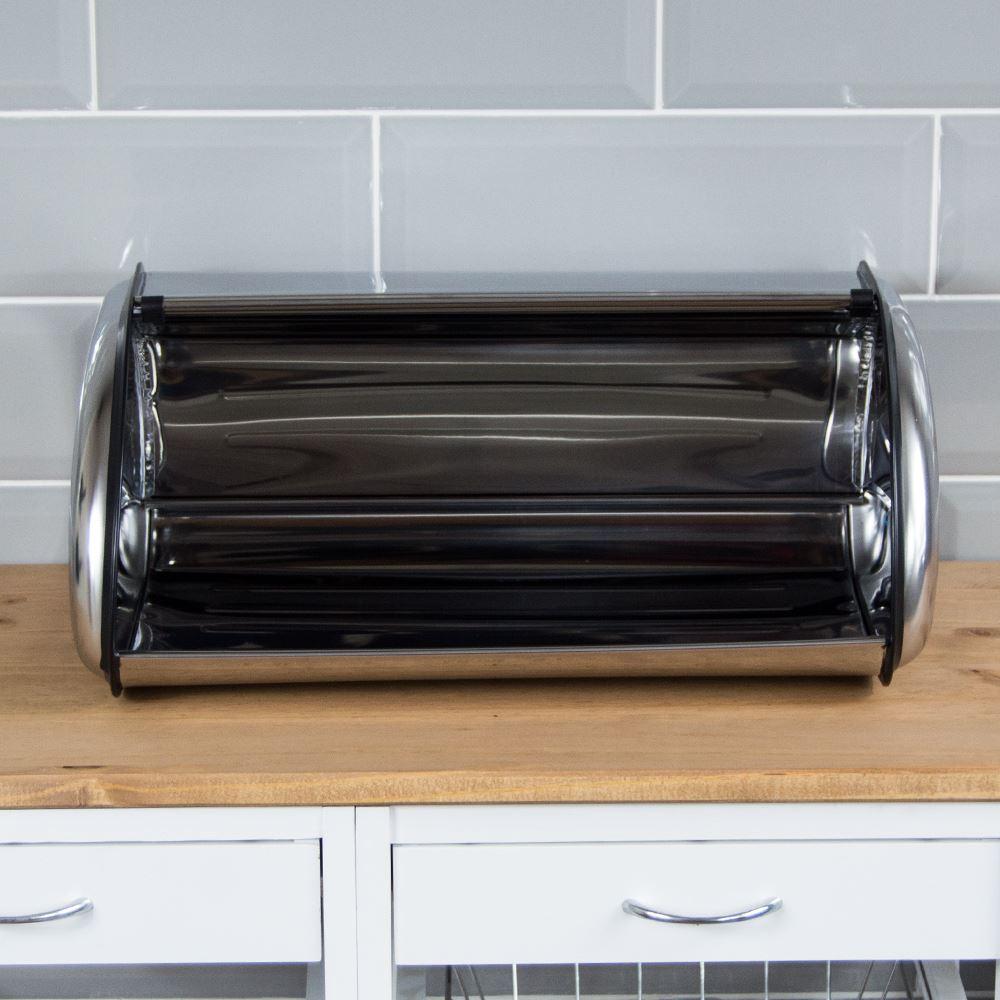 Rectangular Bread Bin Steel Roll Top Kitchen Storage Loaf