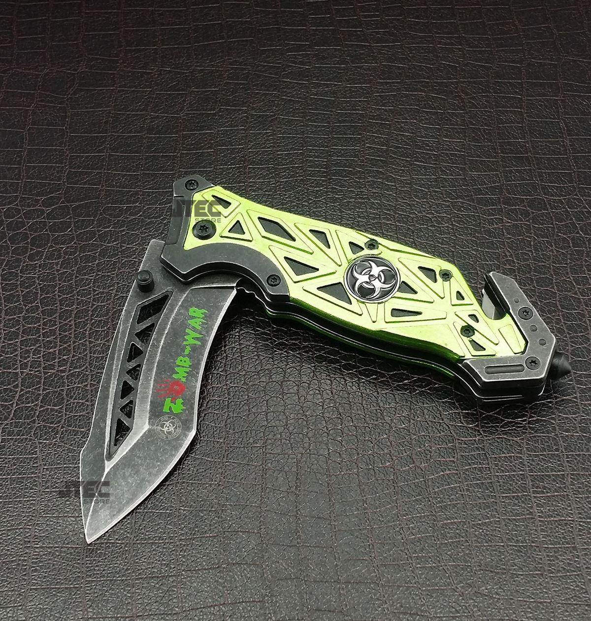 8 Quot Zombie War Spring Assist Pocket Knife Belt Cutter Glass