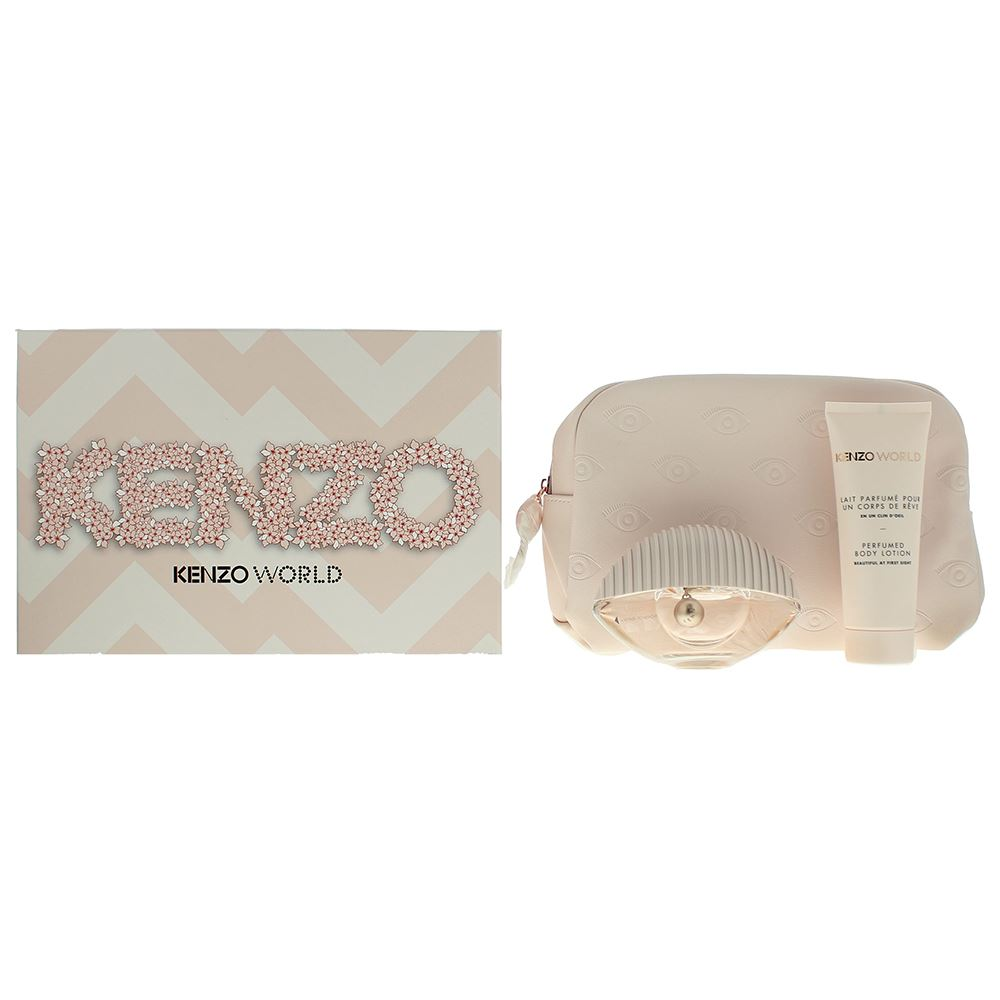 Details about Kenzo World EDT 50ml Body Lotion 75ml & Pouch Pink Box Gift Set Women