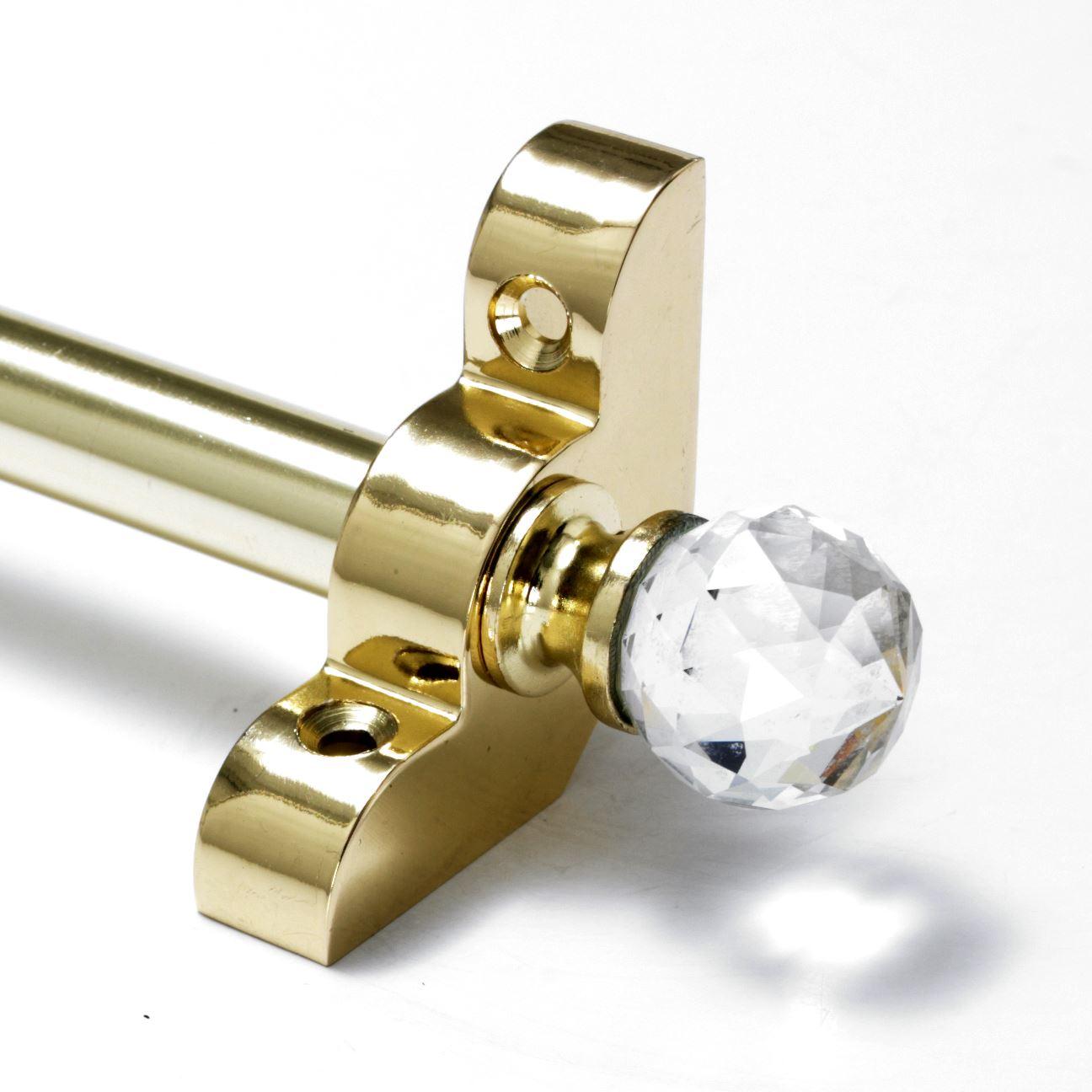 "Premium Range 1//2/"" x 28.5/"" 13 X Satin Brass Stair Rods Crystal Finial"