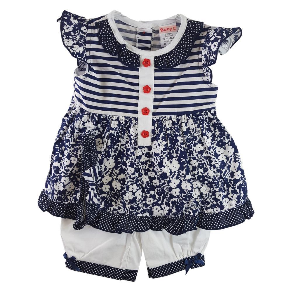 Baby Girl Dress Jam Pants Spanish Style Headband 0-9 Months 3 Pce Pink Blue