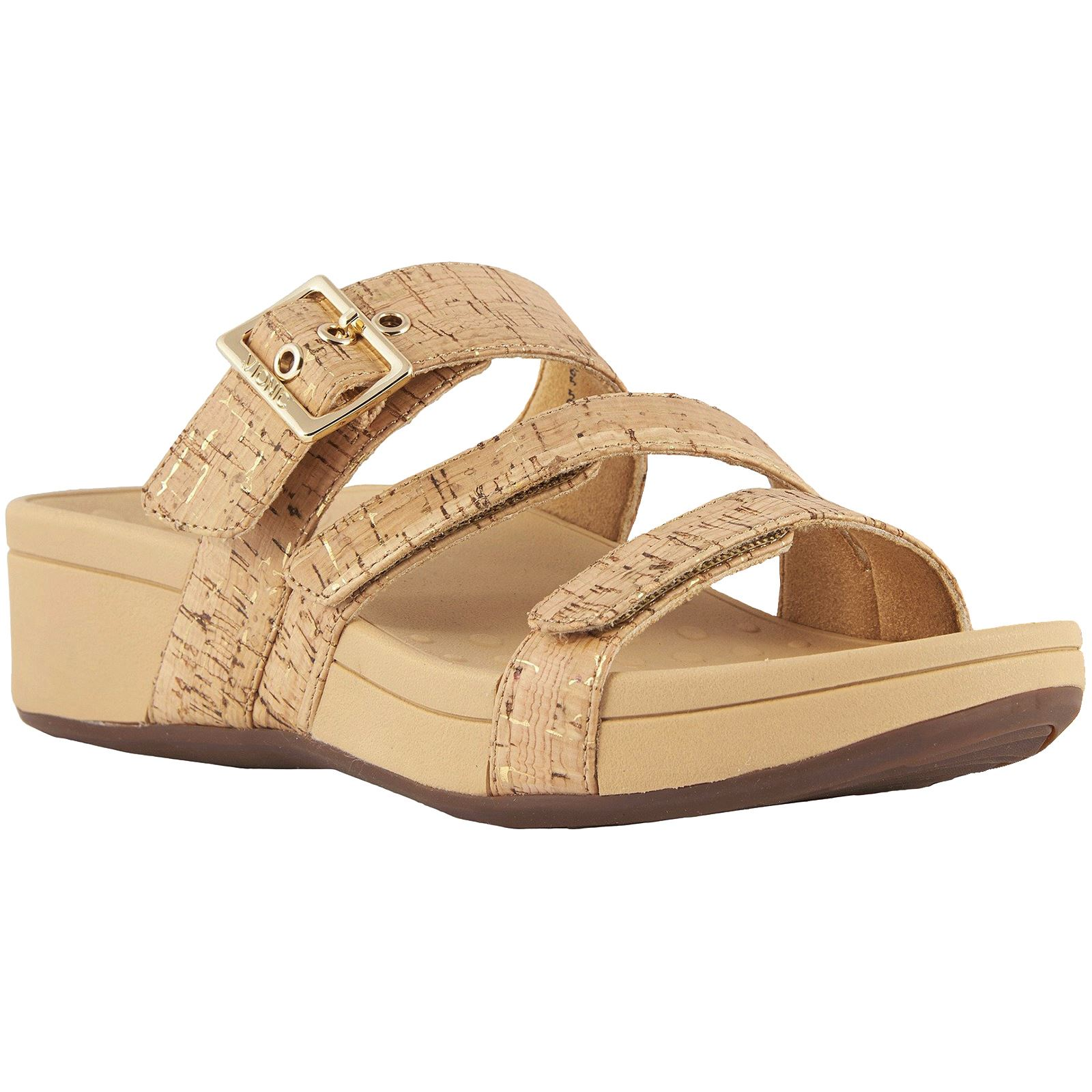 b28ce36487 Details about Vionic Pacific Rio Gold Cork Womens Cork Wedge Slip-On  Open-back Slide Sandals