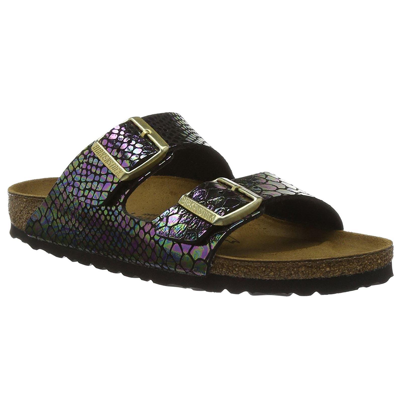 8622263d0a6 Birkenstock Arizona Shiny Snake Black Multicolor Womens Birko-Flor Slide  Sandals