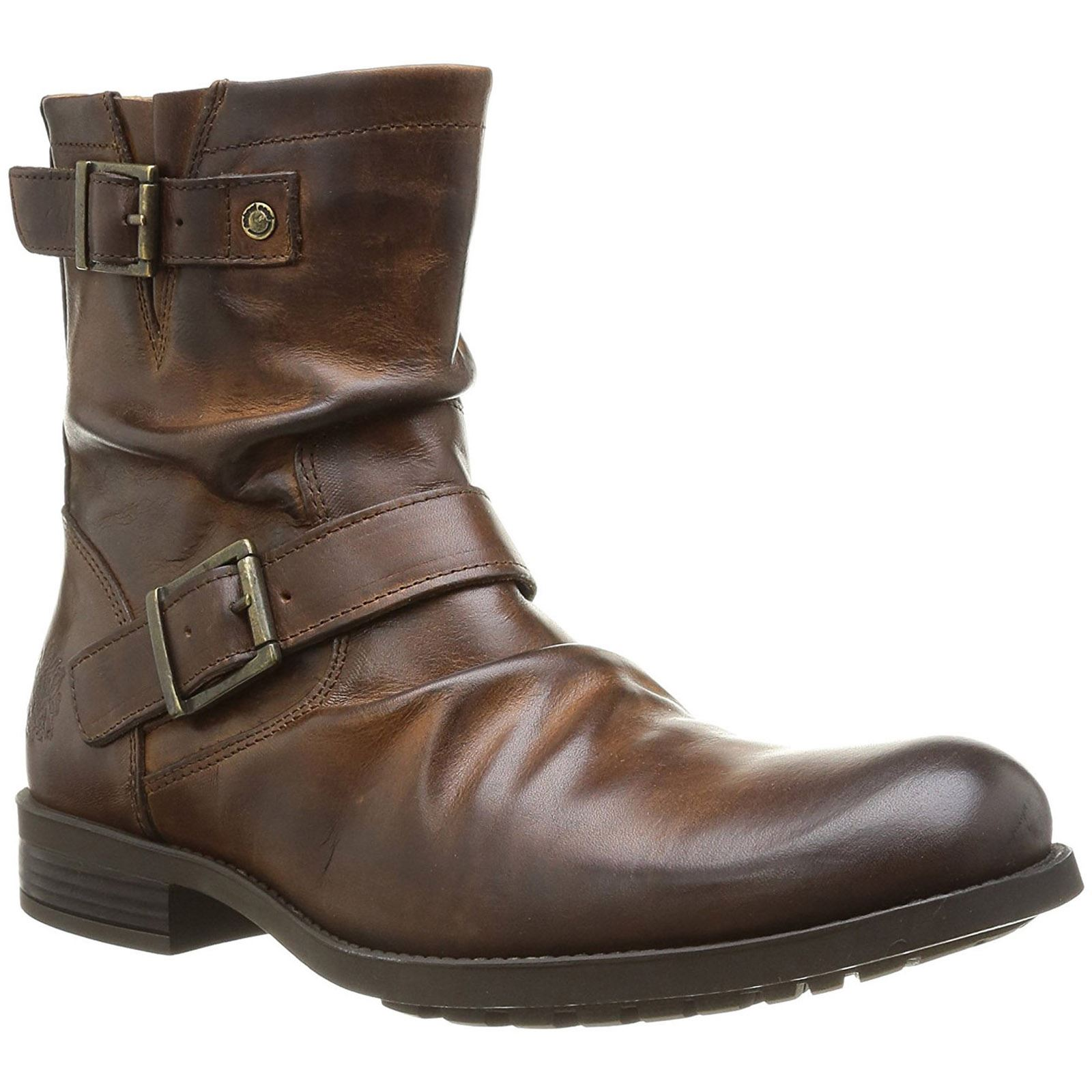 f03a5bcd4f547 Base London Metal Tan Mens Leather Creased Zip Biker Ankle Boots | eBay