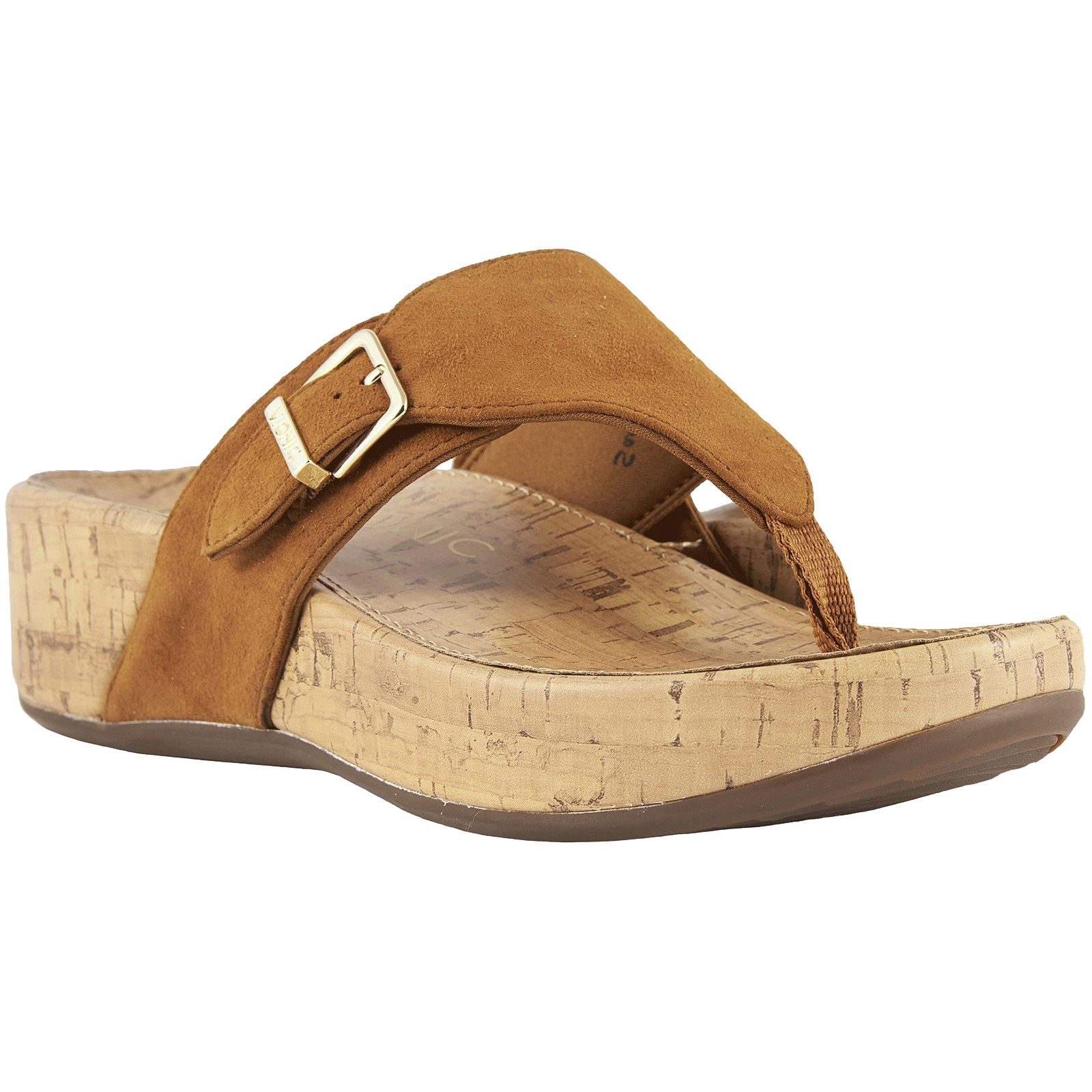 9bb113c62 Details about Vionic Pacific Marbella Caramel Womens Suede Post-Toe Slip-On Wedge  Sandals