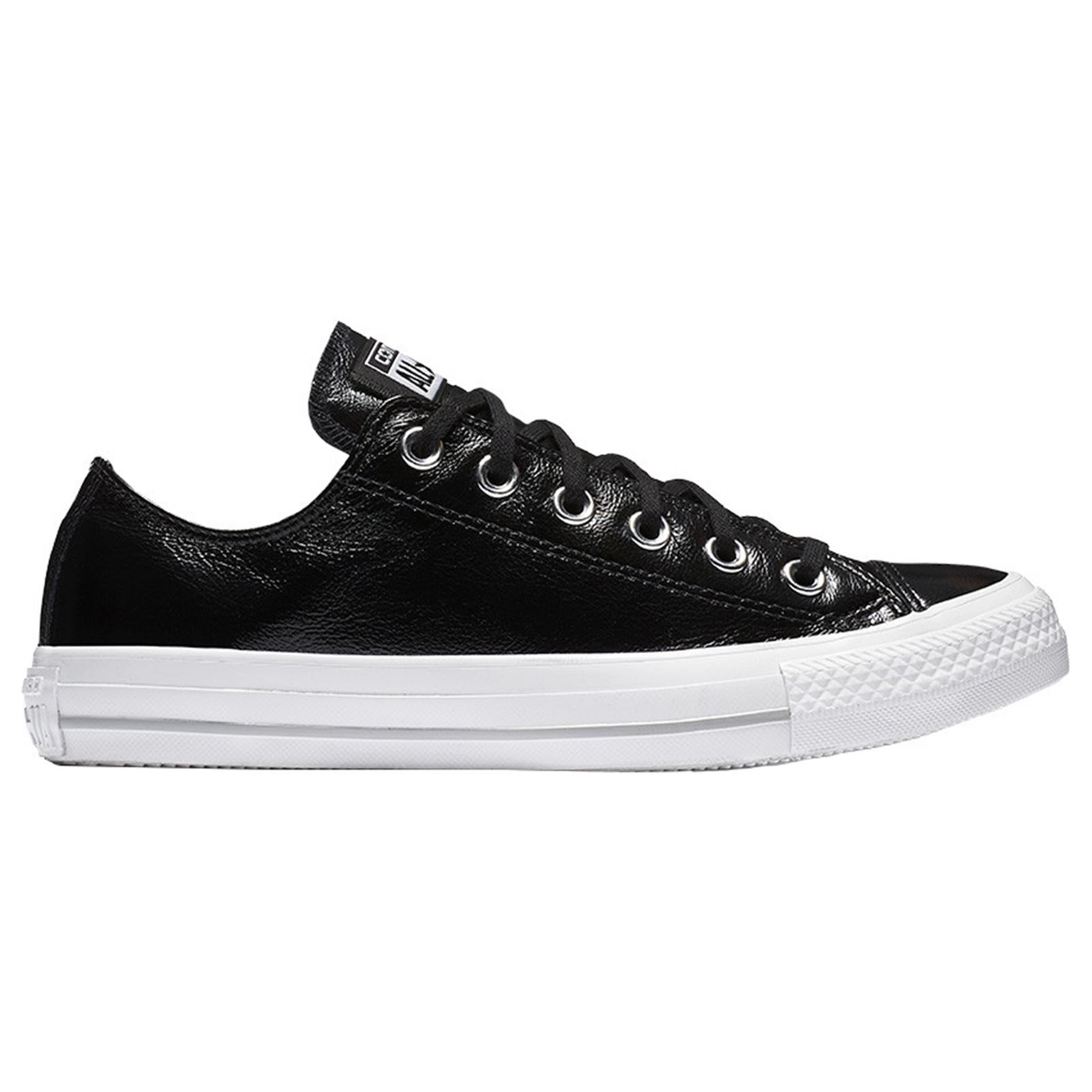 30690a51bc8 Converse Chuck Taylor All Star Ox Black White Womens Patent Leather Trainers