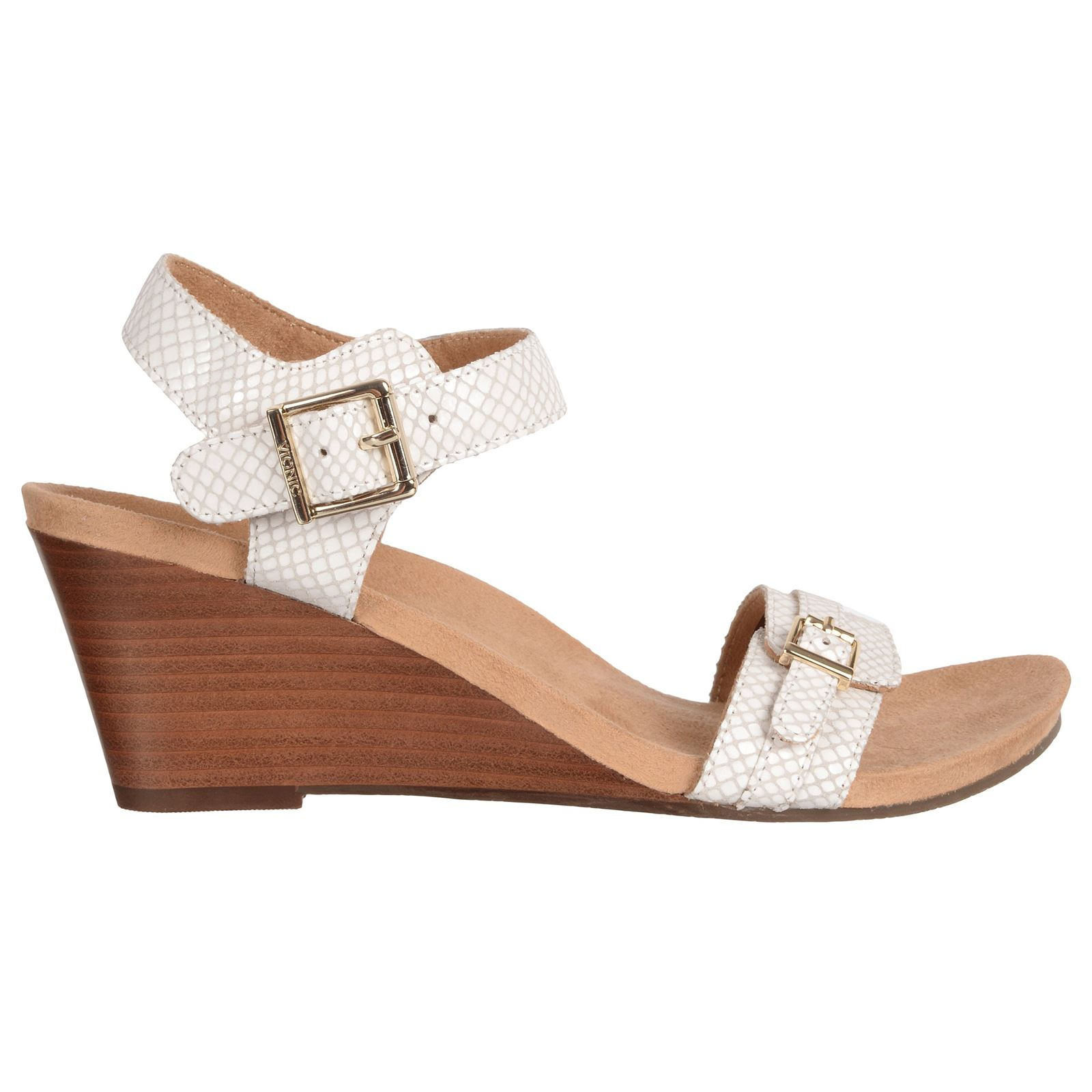 7b161250465 Details about Vionic 382 Laurie Noble White Snake Womens Wedge Open Toe  Sandals New
