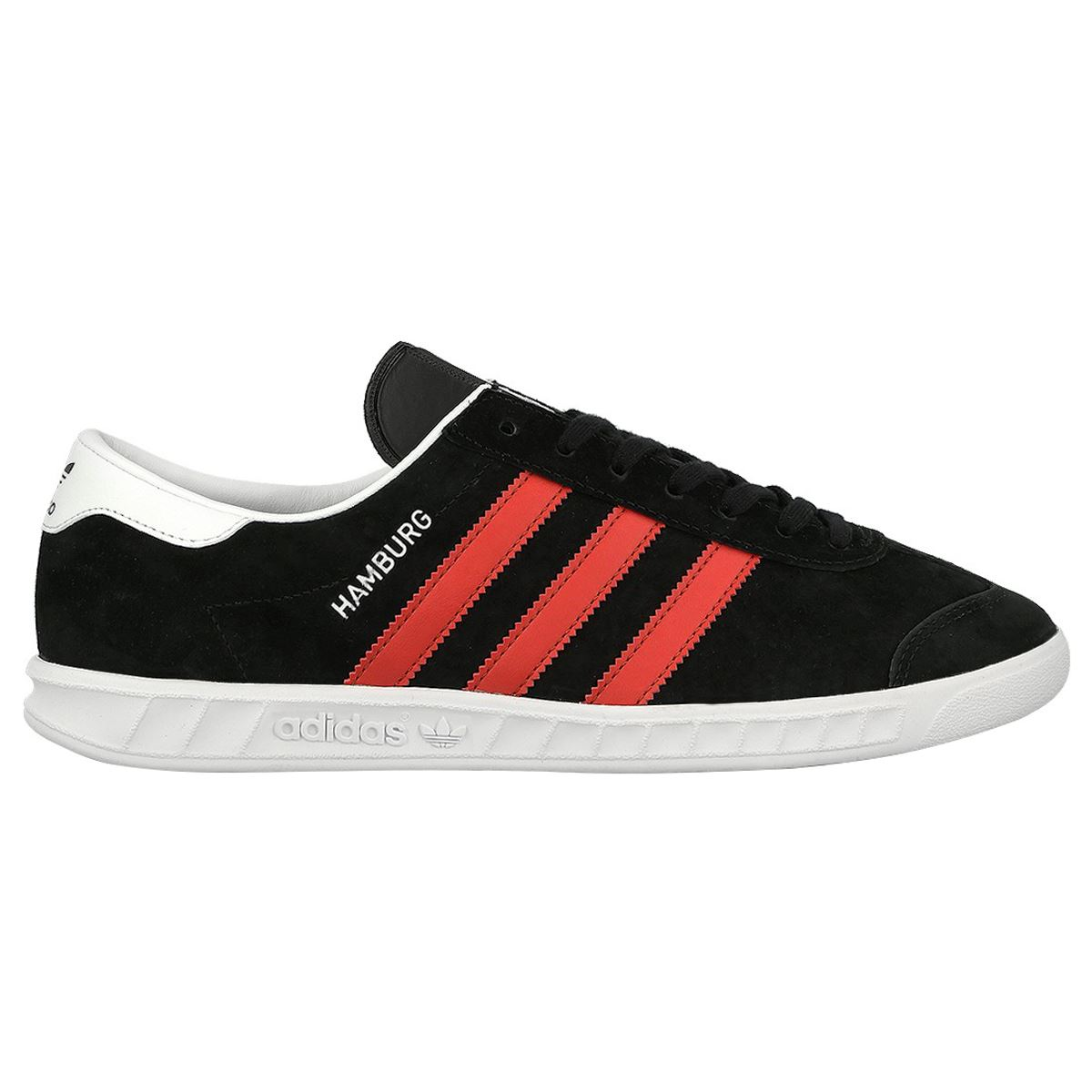 Adidas Hamburg Black Red Mens Suede Low-top Sneakers Trainers New  03e1c3233f48