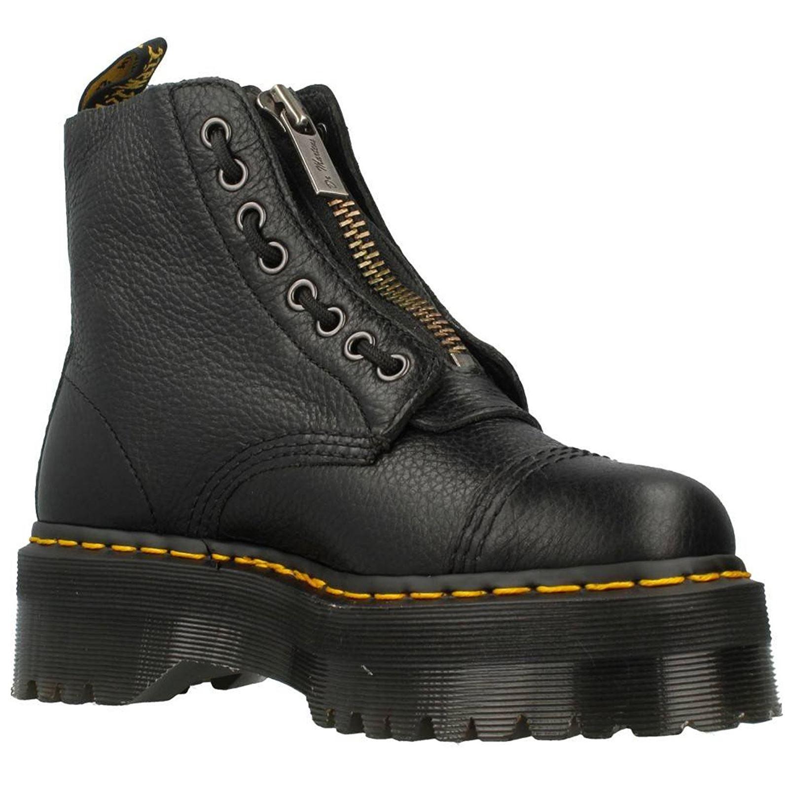 Details about Dr.Martens Sinclair Black Womens Leather Platform Combat Boots