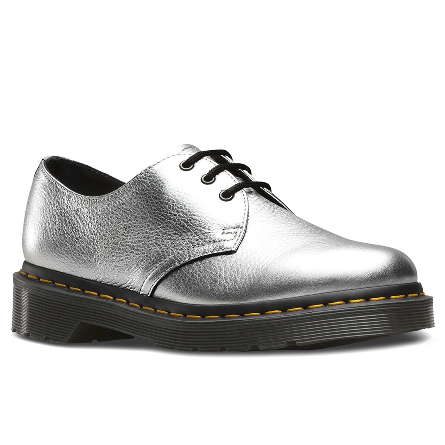 Details about Dr.Martens 1461 Metallic Silver Womens Casual Oxford Shoes  Textured Leather 762f7fbe0acc