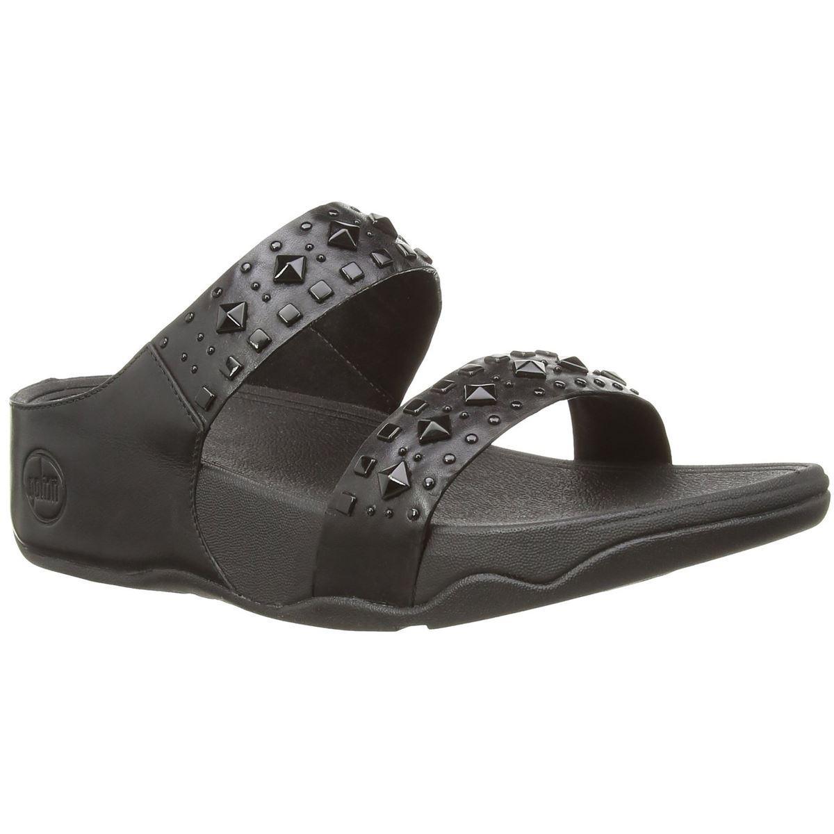 Womens sandals ebay - Image Is Loading Fitflop Biker Chic Slide Black Womens Sandals