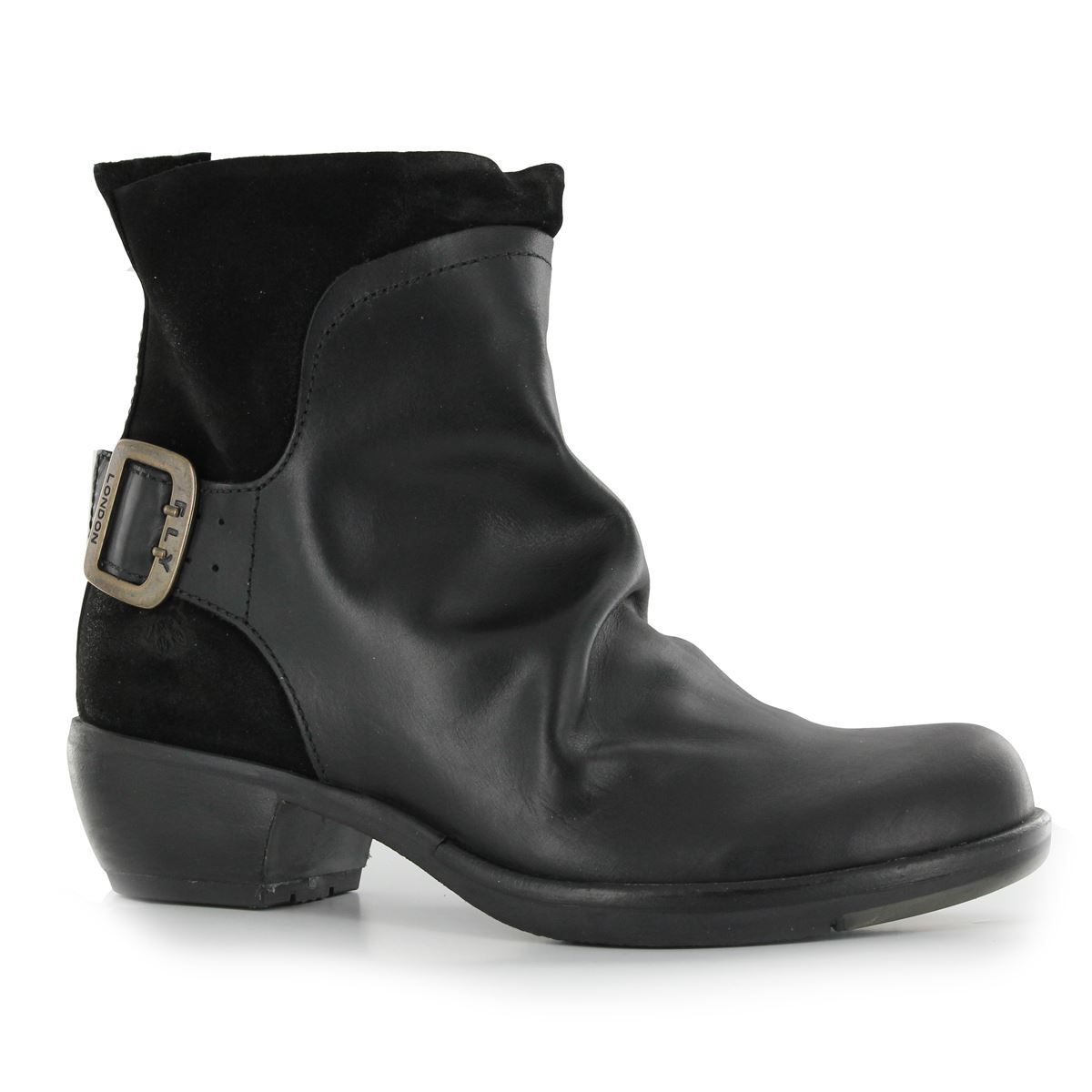 Fly London Mel Black Leather Womens Boots