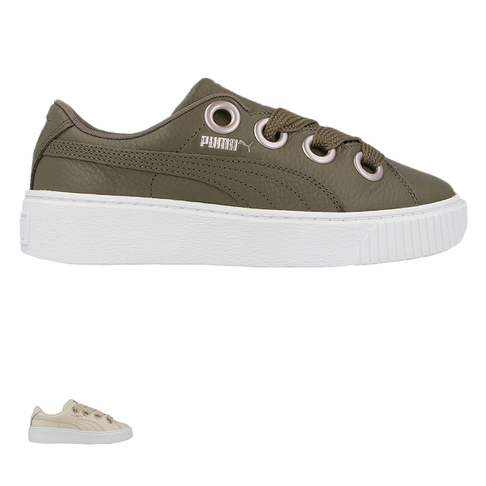 edcd8f75e28f Details about Puma Platform Kiss LEA Wns Leather Low-top Lace-up Sneakers  Womens Trainers