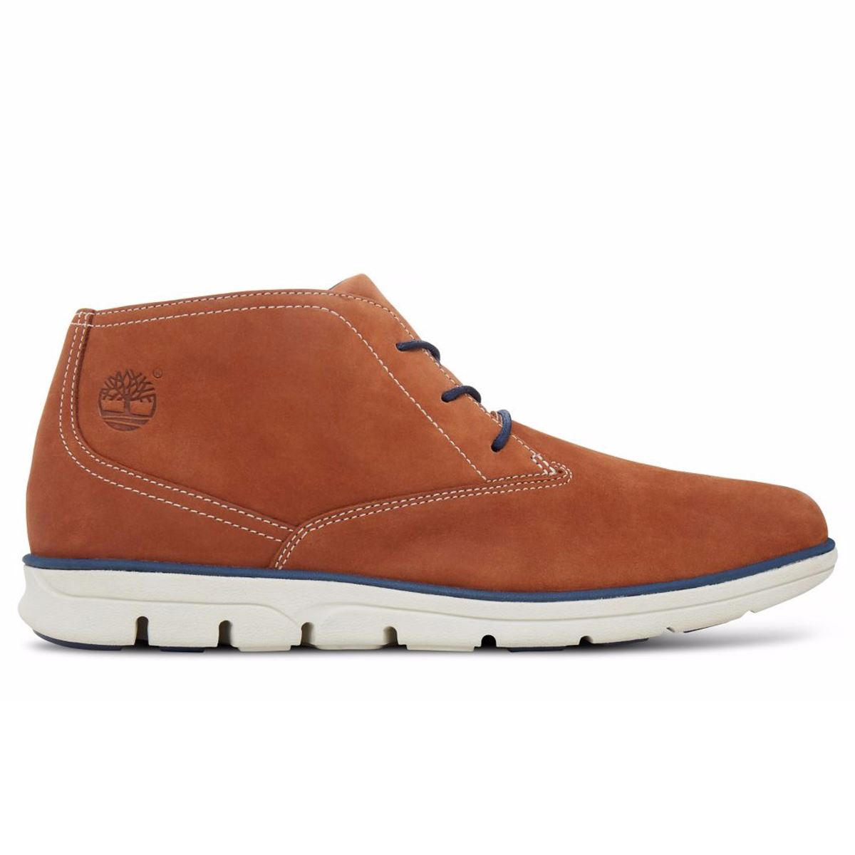 timberland bradstreet plain toe chukka brown mens boots