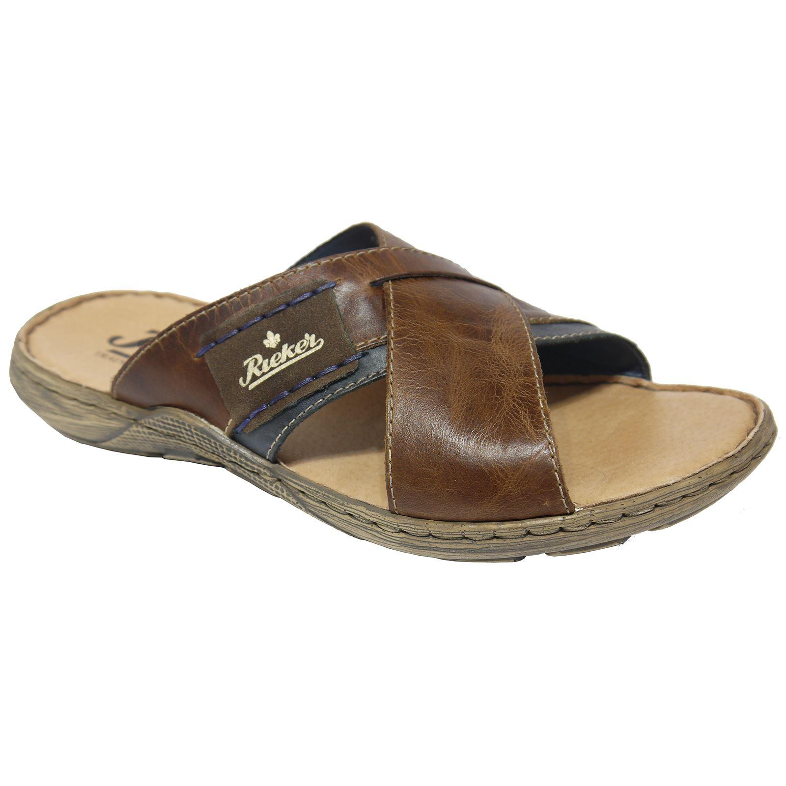 d1208eacbeec94 Rieker 22099-25 Brown Combi Mens Leather Slip-On Mules Slide Sandals ...
