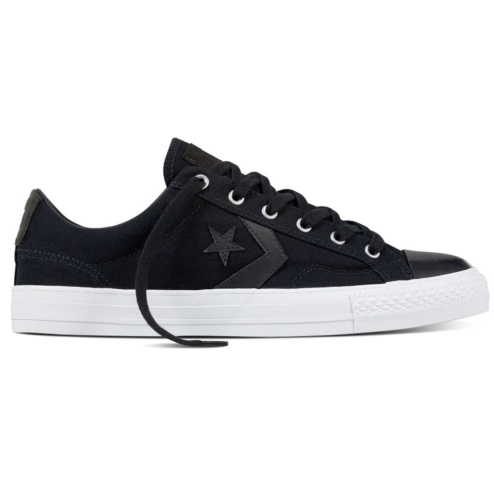 Converse Star Player Ox Black White Canvas Mens Low Top Trainers  3291f2a6c