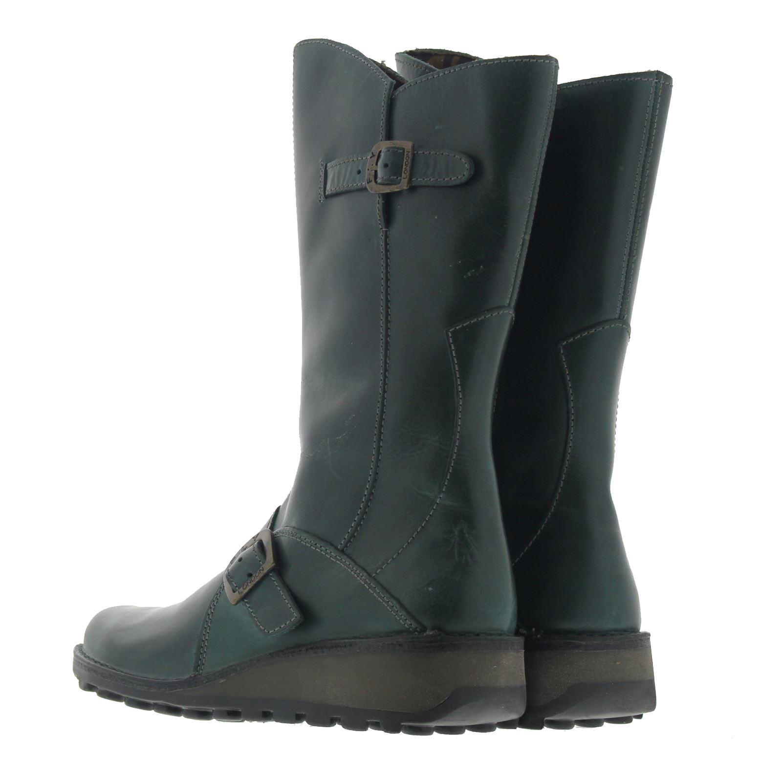 Fly-London-Mes-Leather-Womens-Zip-Up-Medium-Wedge-Heel-Biker-Buckle-Boots