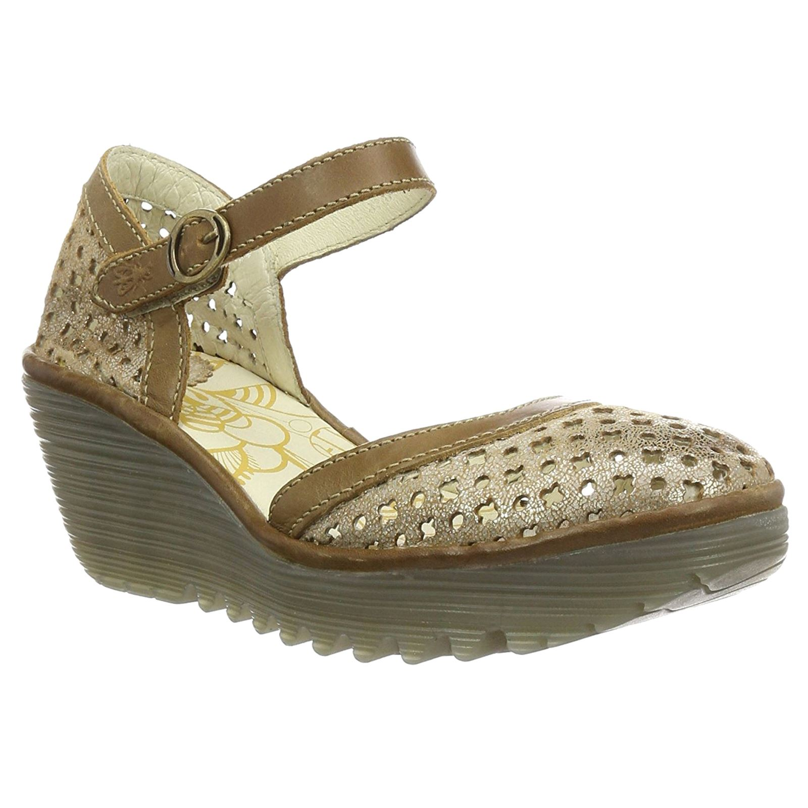 Último gran descuento Fly London Yadu 732 Luna Camel Womens Closed toe Wedge Sandals New