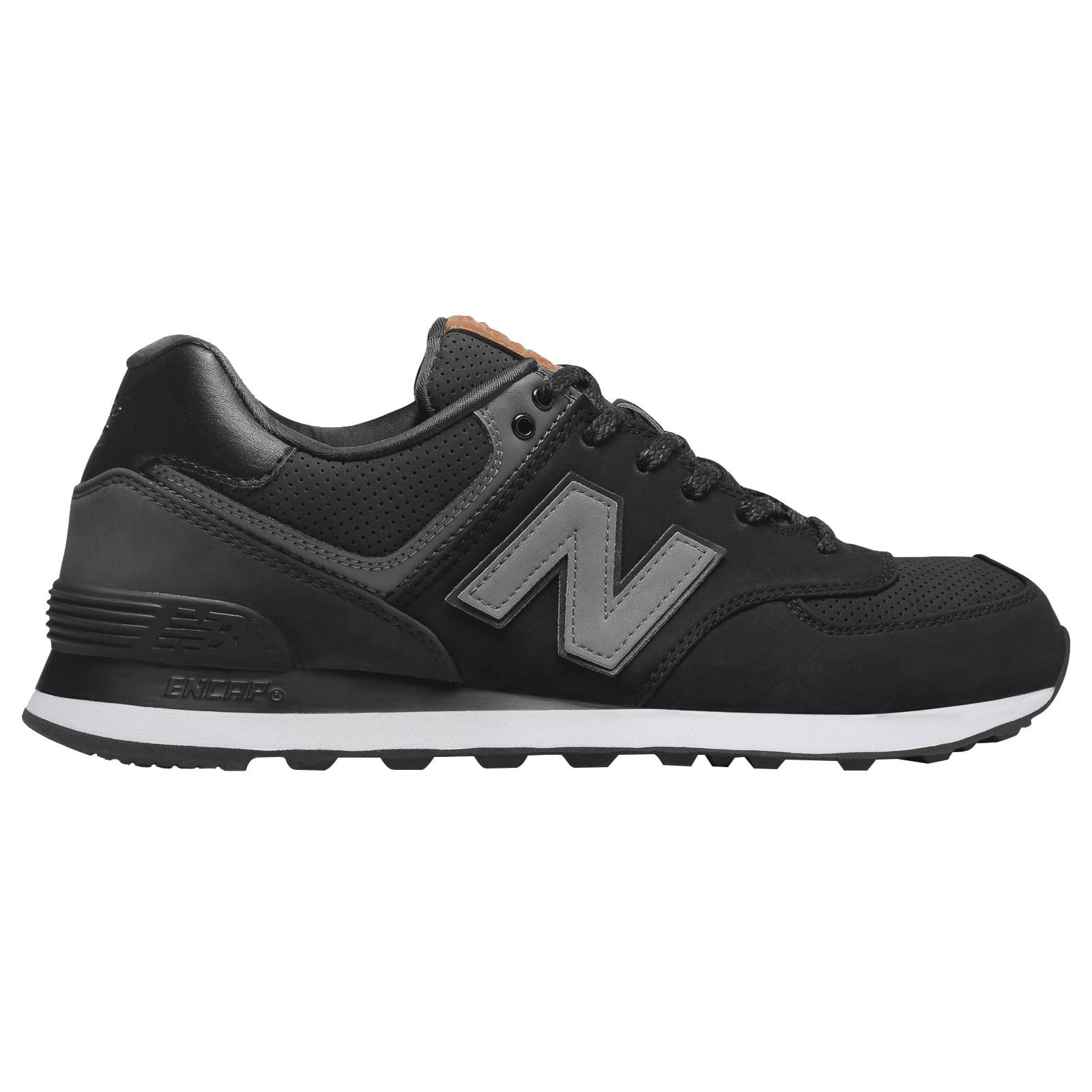 New Balance 574 Classics Black Greystone Mens Lace up Low top Sneakers Trainers