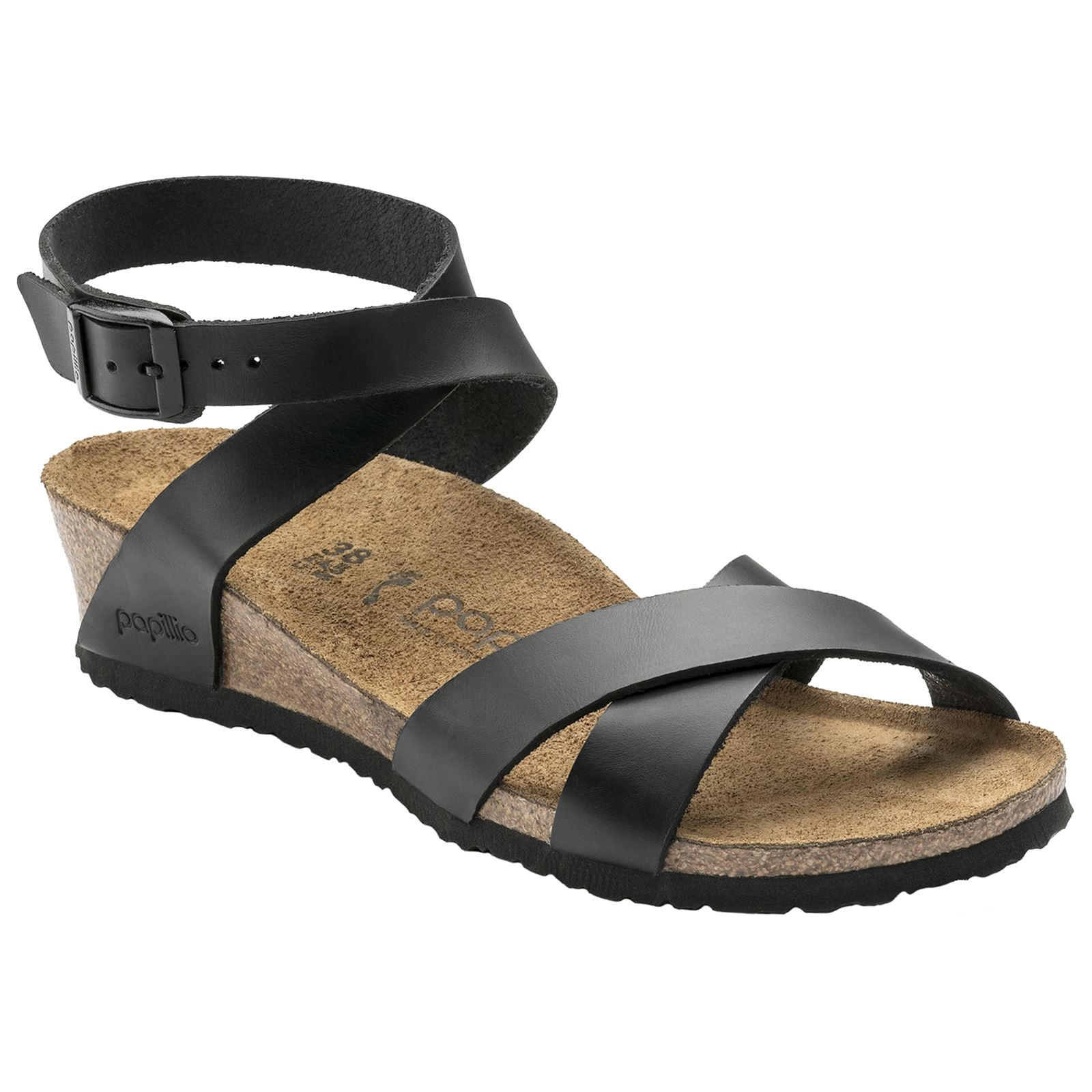 48da7ee6154 Details about Papillio by Birkenstock Lola Black Womens Leather Wedge  Strappy Sandals