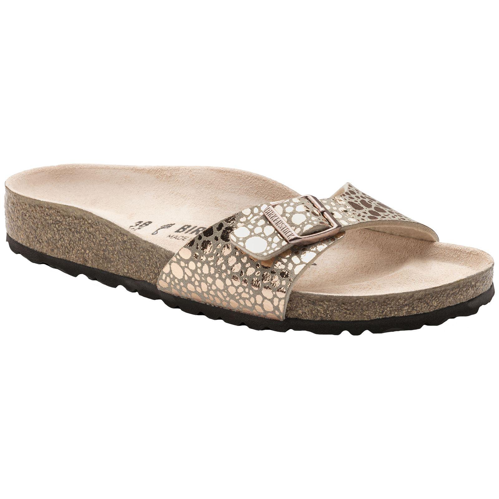 4181f40fb8b9 Birkenstock Madrid Metallic Stones Copper Womens Birko-Flor Open-Back  Sandals