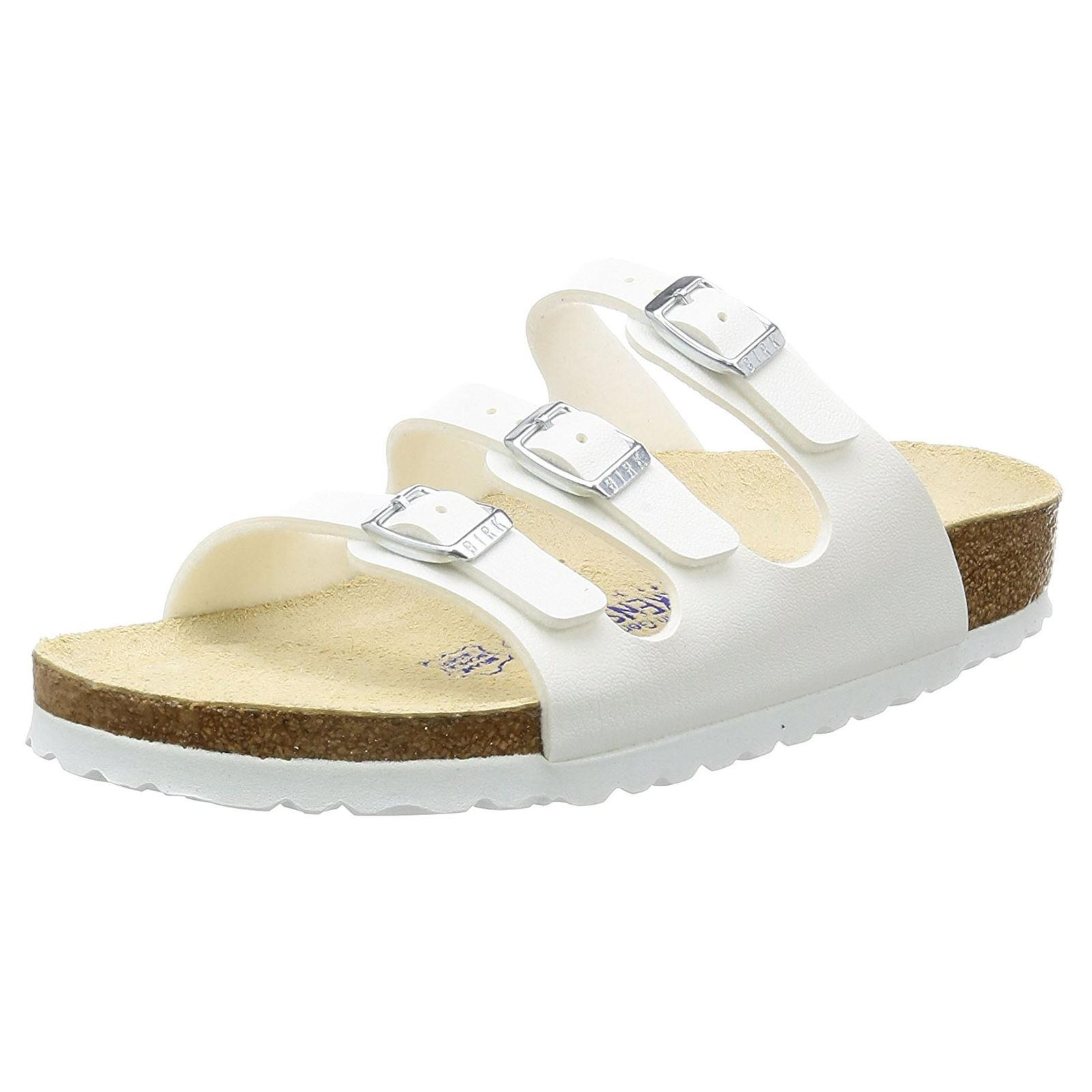 67a58e9dd1c Birkenstock Florida White Birko-Flor Womens Regular Fit Triple Strap Sandals