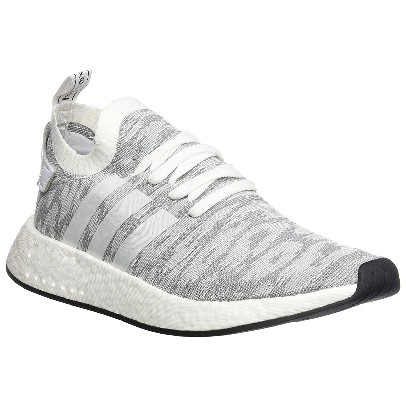 b3d402fbcda Adidas NMD R2 Primeknit Medium Grey White Men Sneakers Boost Technology  Trainers
