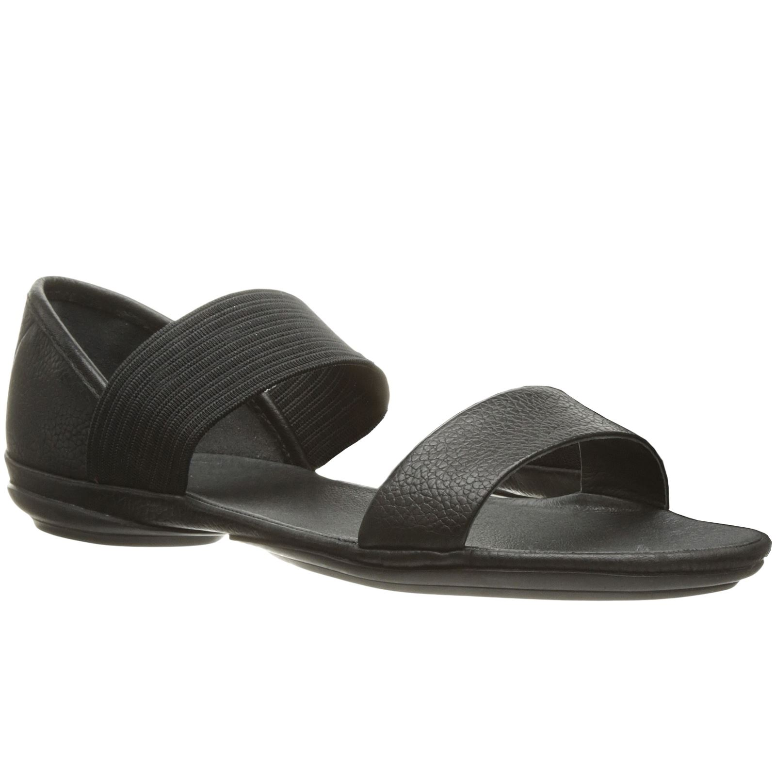 Camper Right Nina Black Womens Summer Sandals Smooth Leather