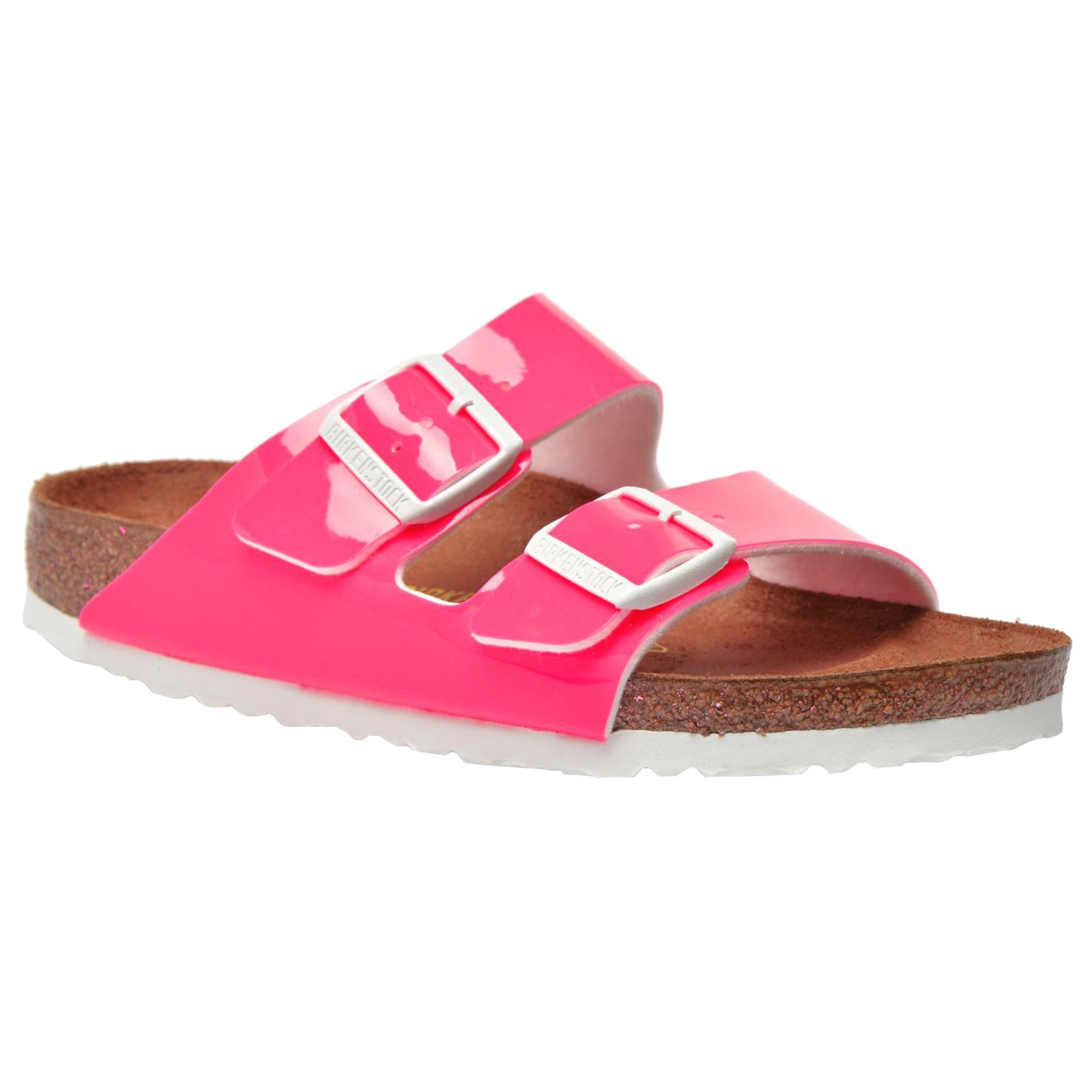 26d3f082e4b60a Birkenstock Arizona Patent Neon Pink Womens Birko-Flor Twin Strap Slide  Sandals