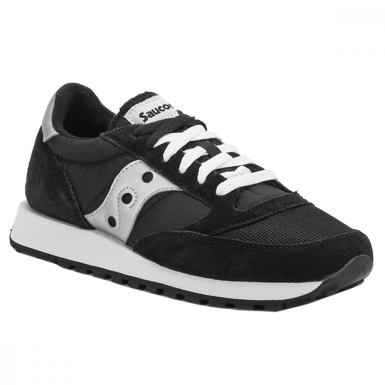 Saucony Jazz Original Vintage S7036810 Black White Mens Suede Mesh Trainers