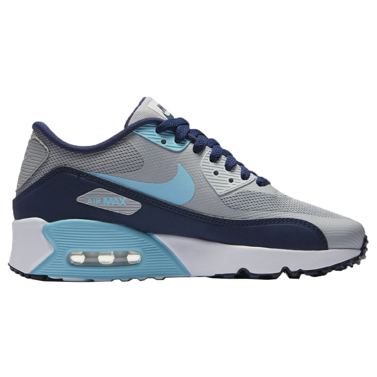 401d2343df Description: The white and blue Nike Air Max 90 Ultra 2.0 kids trainers ...