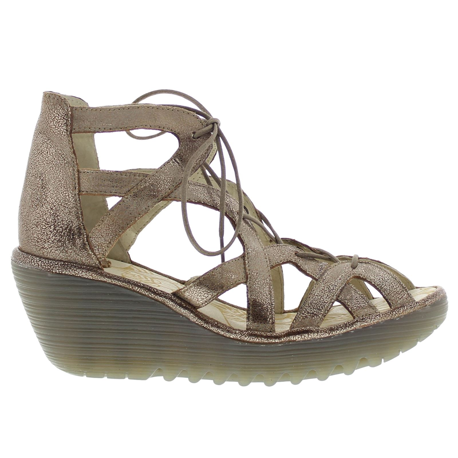 1b5711937453 Fly London YELI719FLY Wedge Gold Womens Sandals