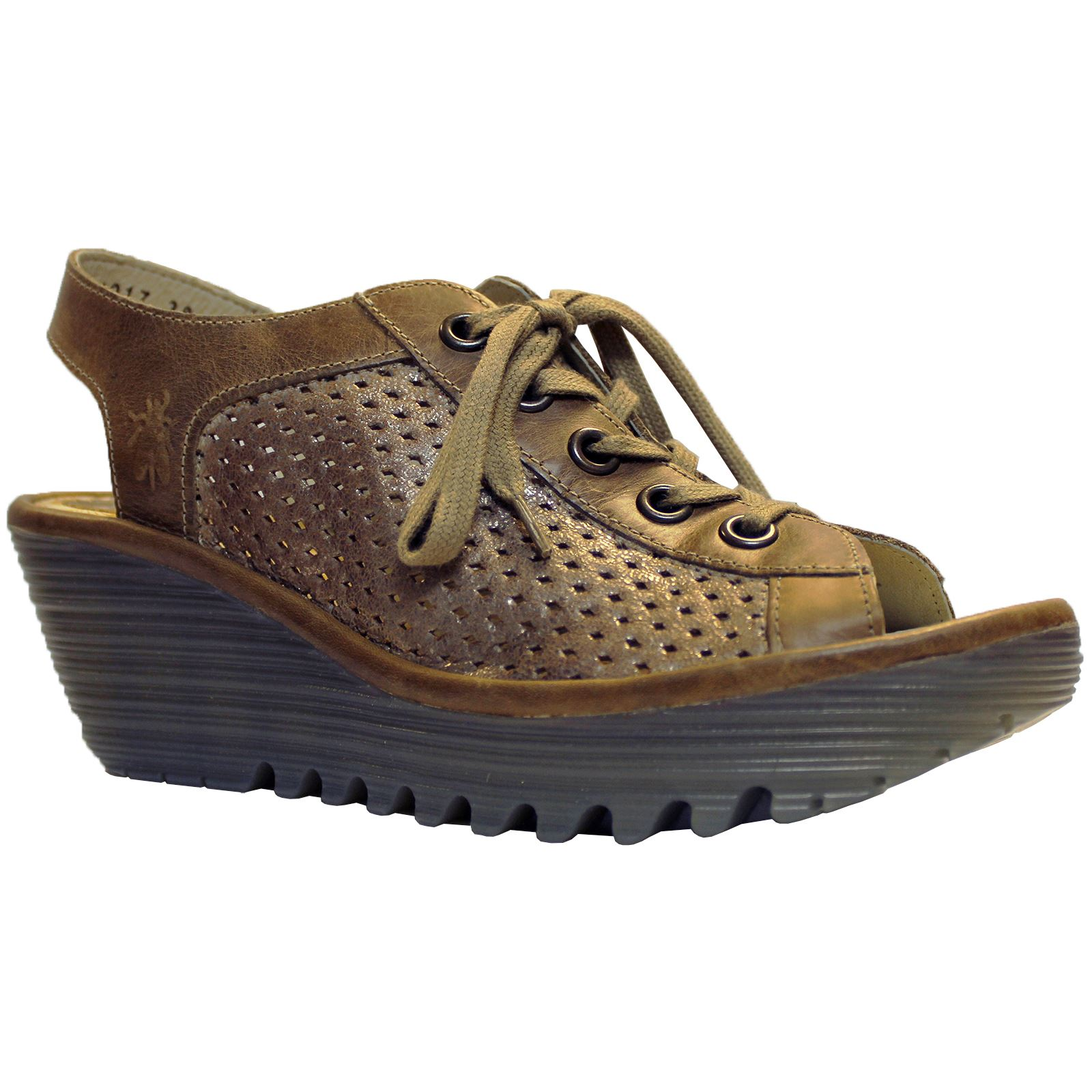 Fly London Yeki 841 Luna Camel Womens Leather Perforated Lace Up Wedge Sandals