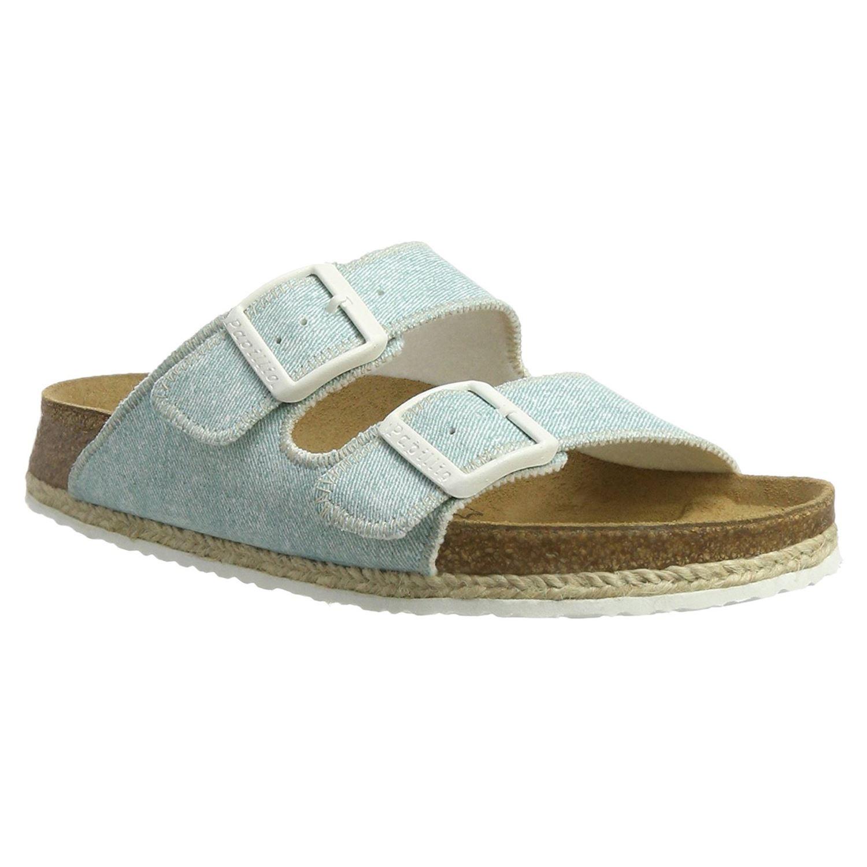 f3341c4ee29 Details about Papillio by Birkenstock Arizona Beach Light Blue Womens  Fabric Comfort Sandals