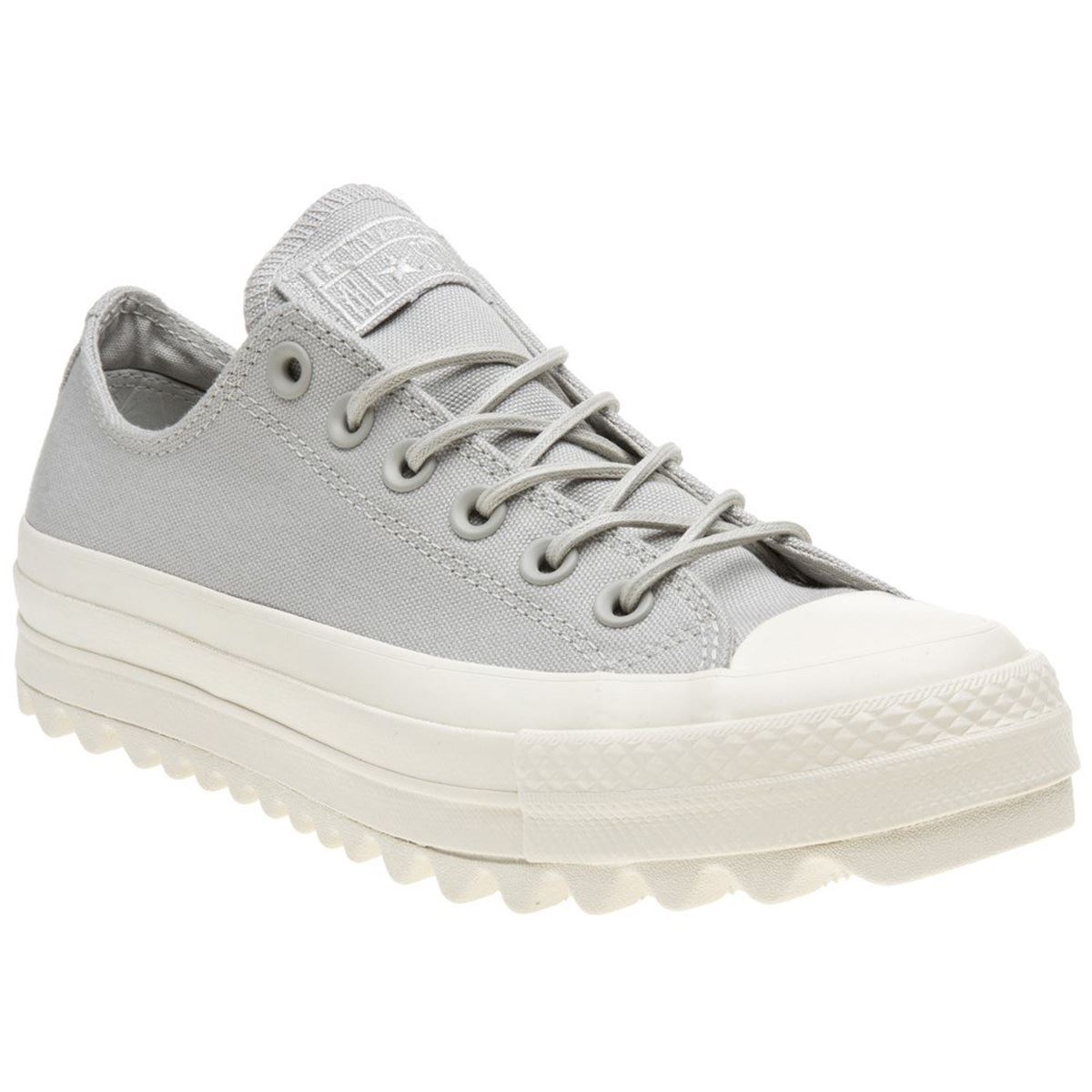 7f0043ee258a0f Converse Chuck Taylor All Star Lift Ripple Ox Pale Grey Womens Canvas  Trainers