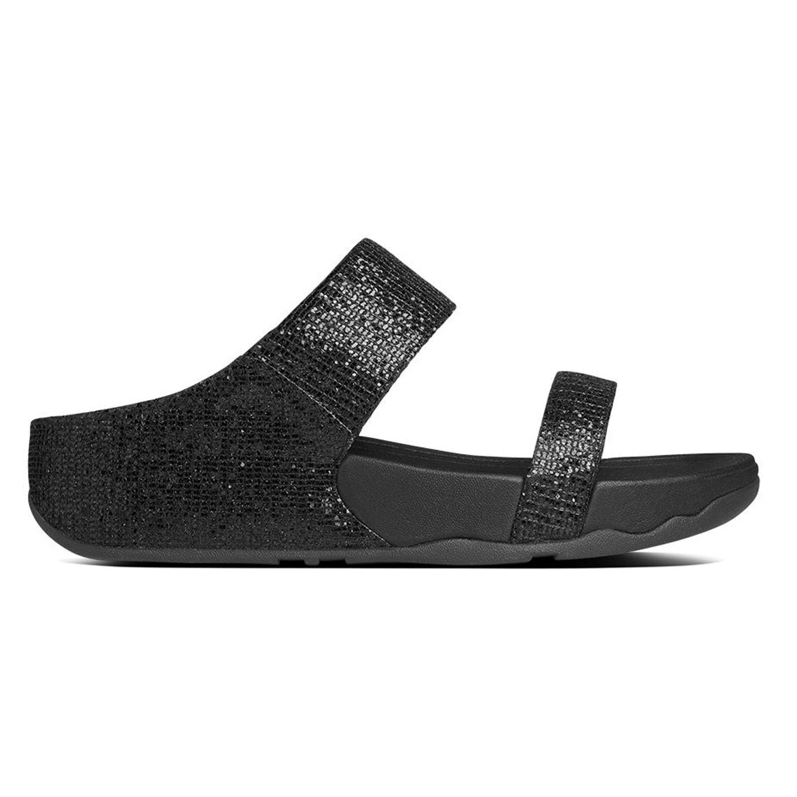 0dccd44c54e FitFlop Lulu Superglitz Slide Black Womens Sandals