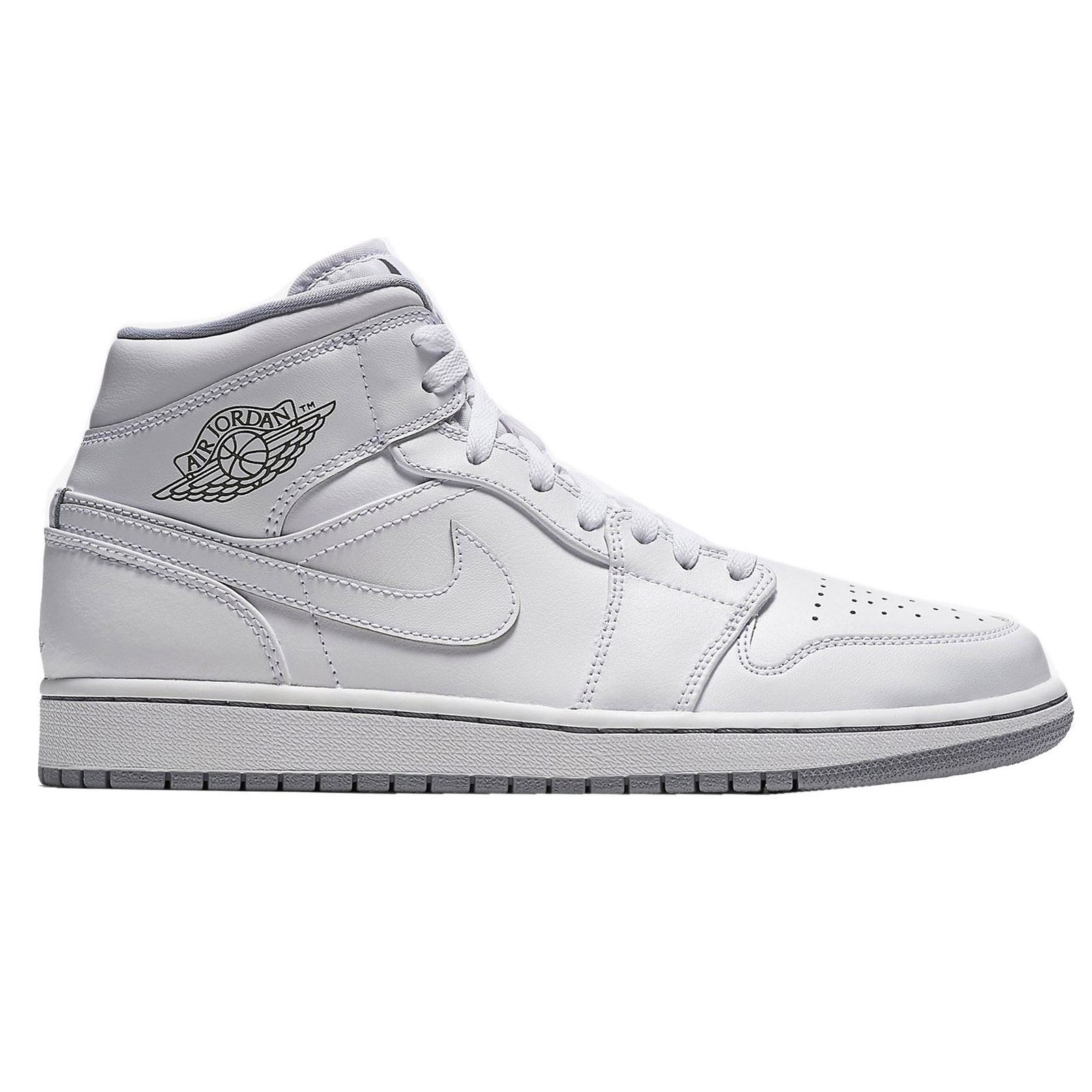 nike air jordan 1 mid white white youths trainers