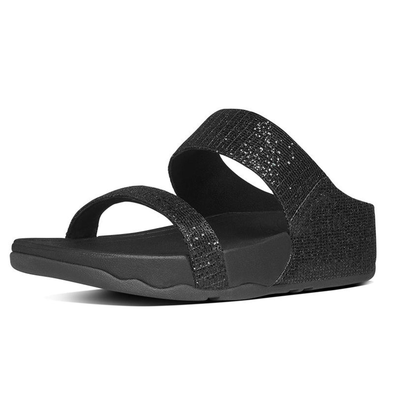 Womens sandals ebay - Fitflop Lulu Superglitz Slide Black Womens Sandals