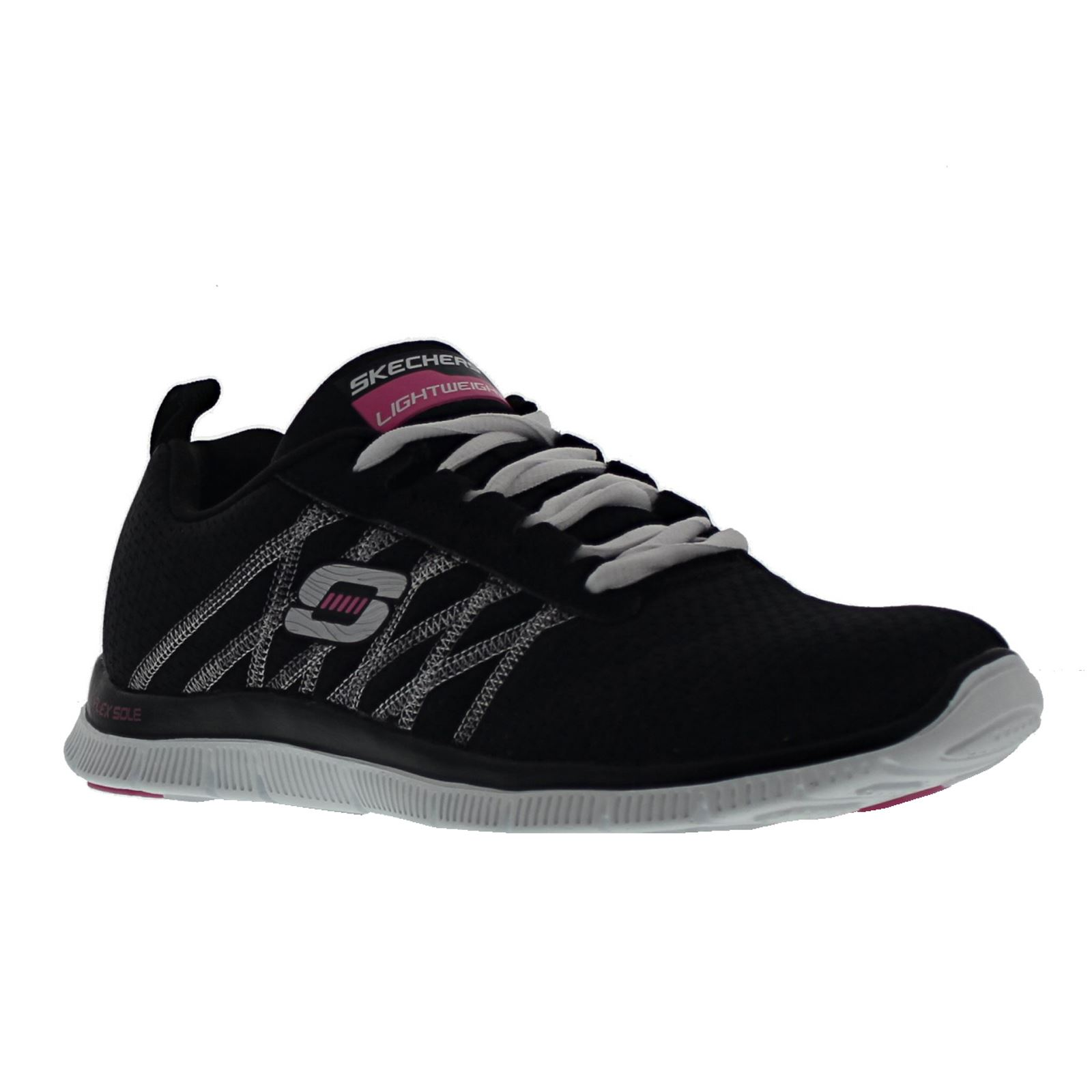 2223a793e9e3 Skechers Flex Appeal Something Fun Black White Womens Trainers