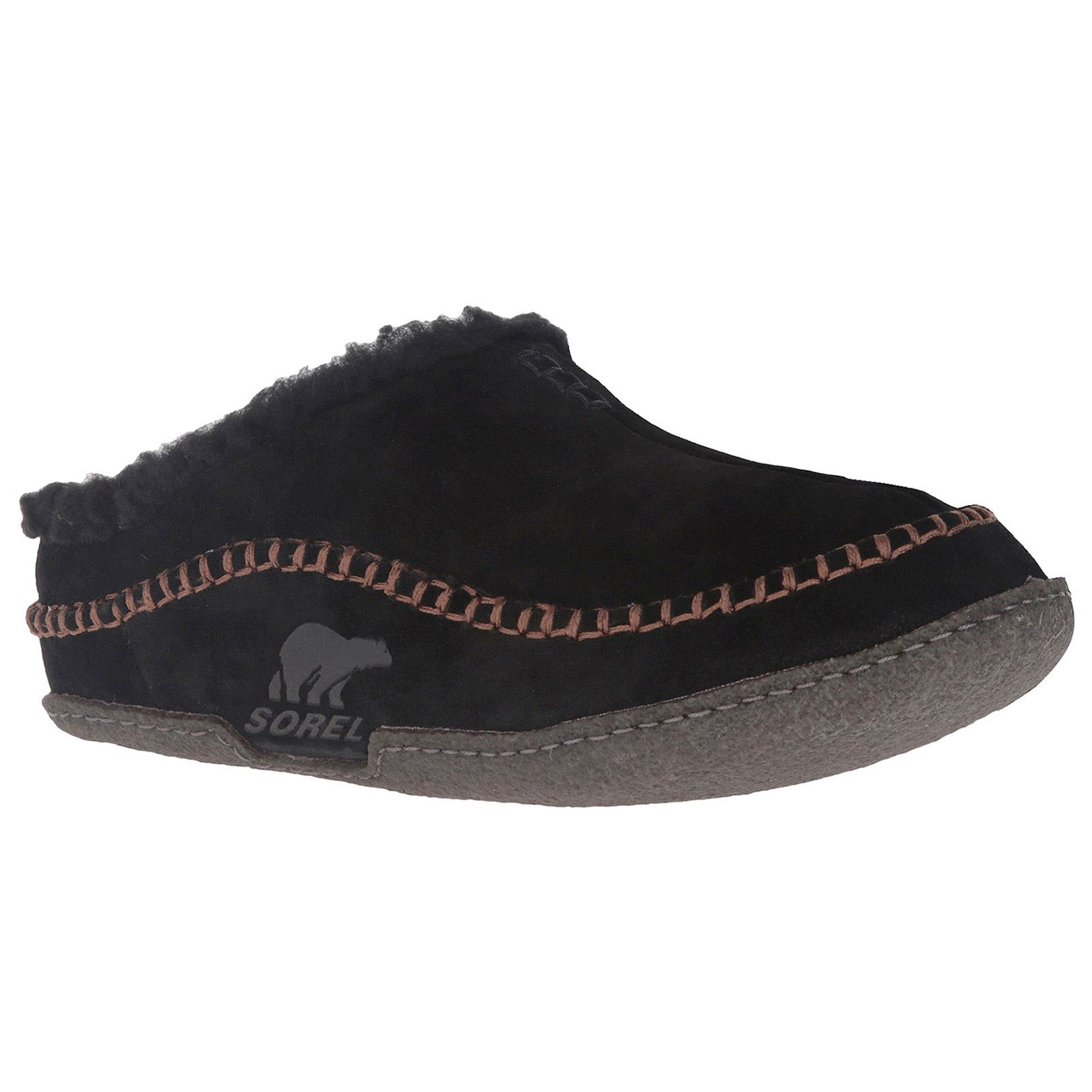 Sorel Falcon Ridge Black Nutmeg Mens Suede OpenBack Slipon Slippers