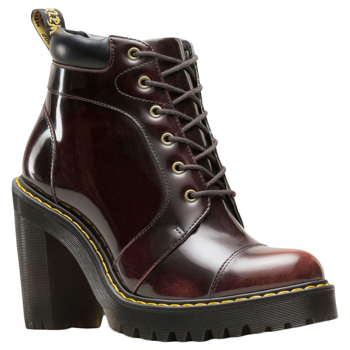 Dr.Martens Averil Arcadia Leather Lace-Up Ankle High Heeled Womens Boots