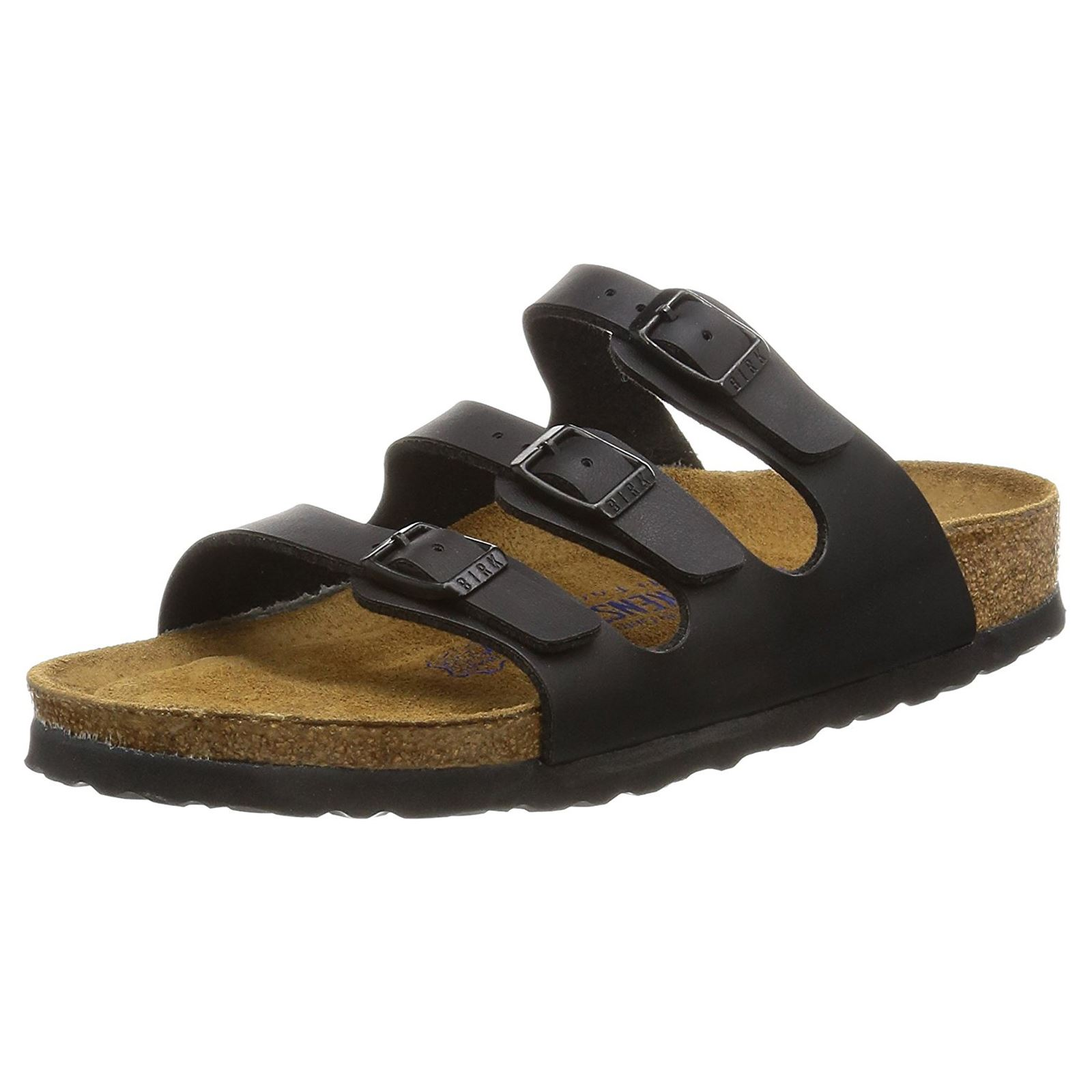 0112e232672 Birkenstock Florida Black Birko-Flor Womens Triple Strap Slip On Sandals
