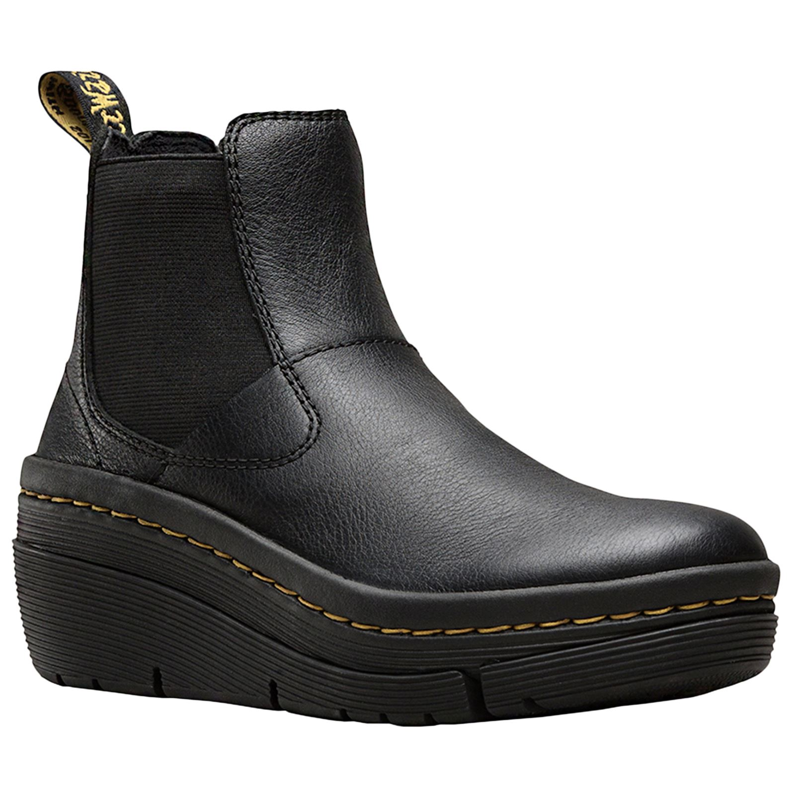 pretty nice 2bd62 9c822 Details zu Dr.Martens Brienna Black Womens Virginia Leather Wedge Chelsea  Boots