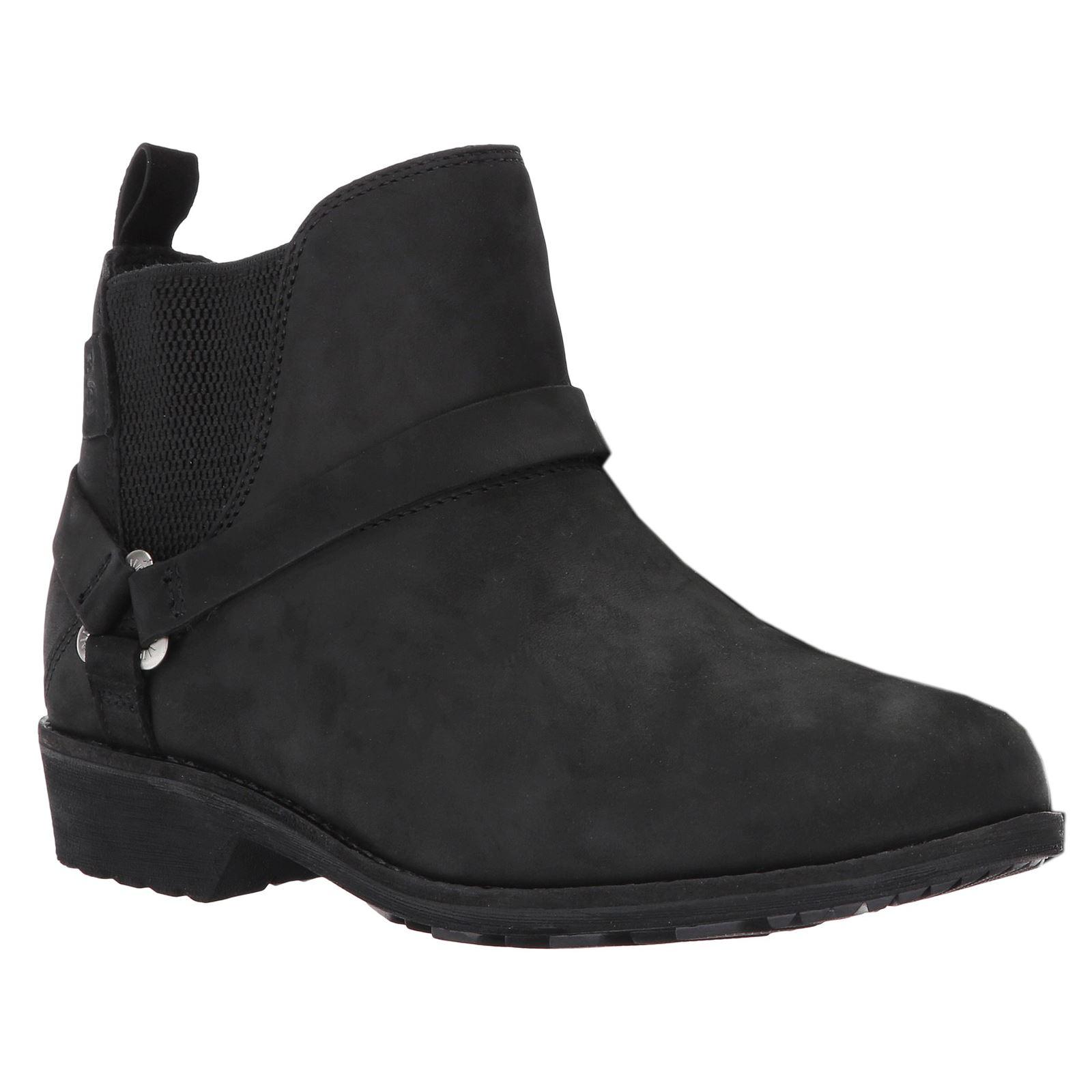 038ab51d831b0 Teva De La Vina Dos Chelsea Black Womens Leather Chelsea Ankle Boots ...