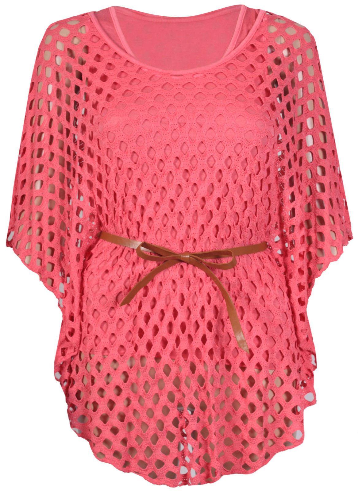 Nouveau-Femme-Taille-Plus-chauve-souris-Manches-Crochet-Ceinture-Cravate-Maille-Debardeur-12-26 miniature 3