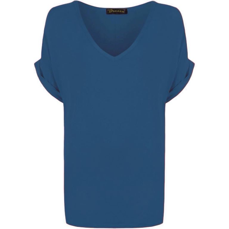 NEW-WOMENS-LADIES-V-NECK-BAGGY-CASUAL-TURN-UP-SLEEVE-TOP-T-SHIRT-PLUS-SIZE-8-26