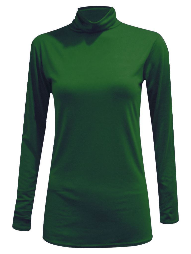 Ladies-Plain-Full-Sleeve-Polo-Roll-Neck-Jumper-Top-Womens-Turtle-Neck-Jumper thumbnail 2
