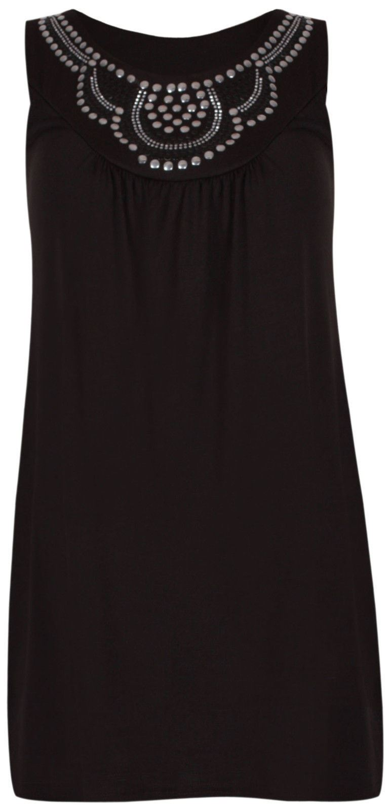 NEW-LADIES-PLUS-SIZE-BLACK-STUDDED-VEST-STRETCHY-LONG-WOMENS-TUNIC-TOPS-14-28