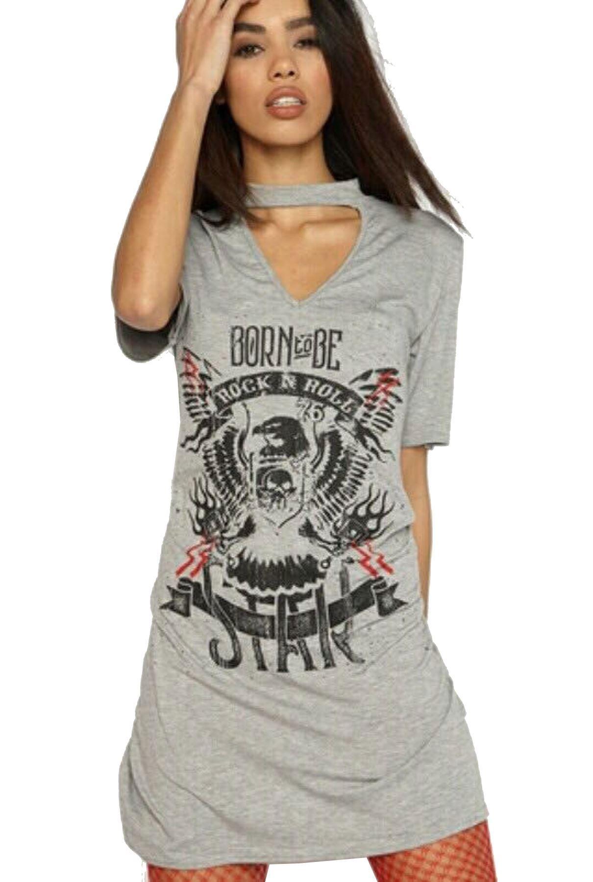 women's ladies born to be rock n roll choker v neck t shirt dress