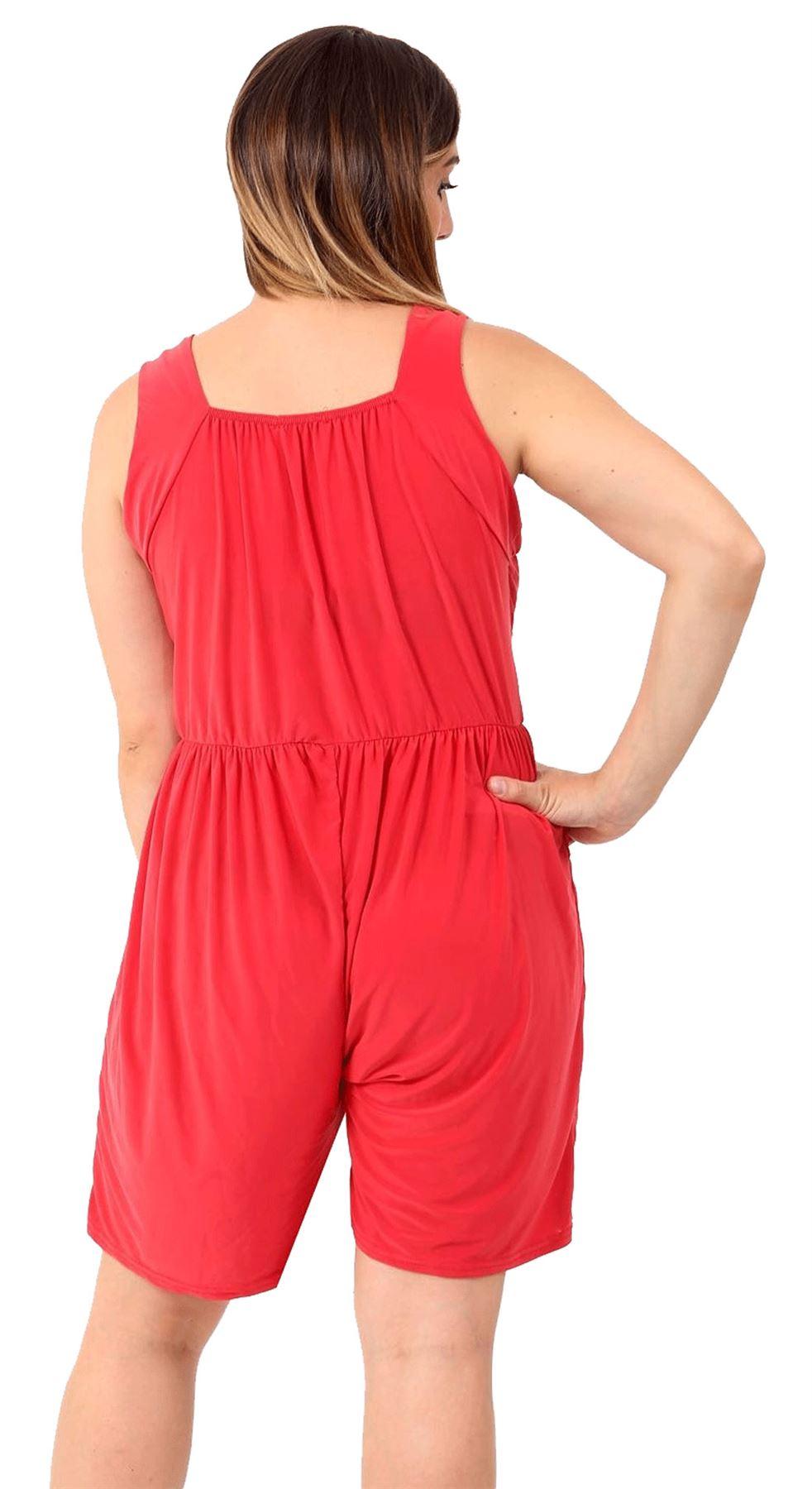 Ladies Wrap Over Playsuit Con Corto Donna Senza Maniche con cinturini a pieghe Romper Tuta